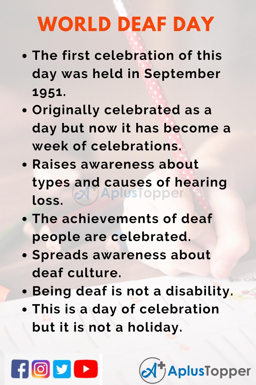 10 Lines on World Deaf Day for Kid