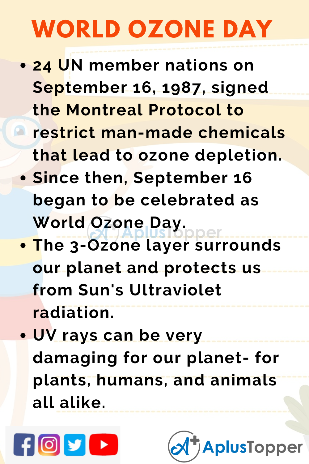 10 Lines on World Ozone Day for Higher Class Students