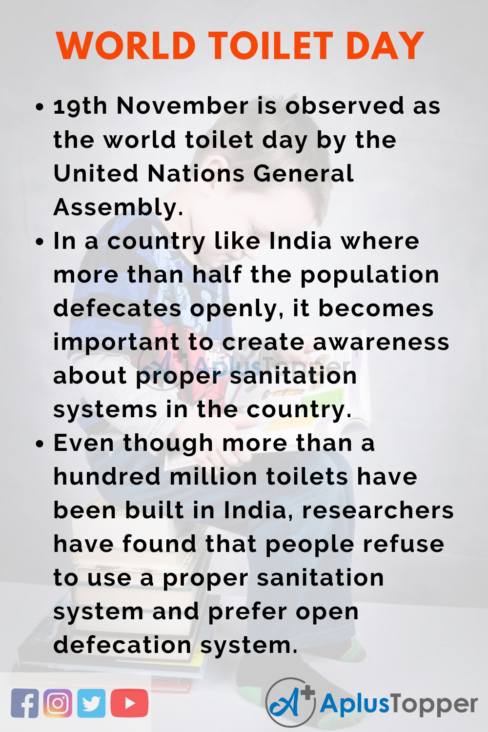 10 Lines on World Toilet Day for Higher Class Students