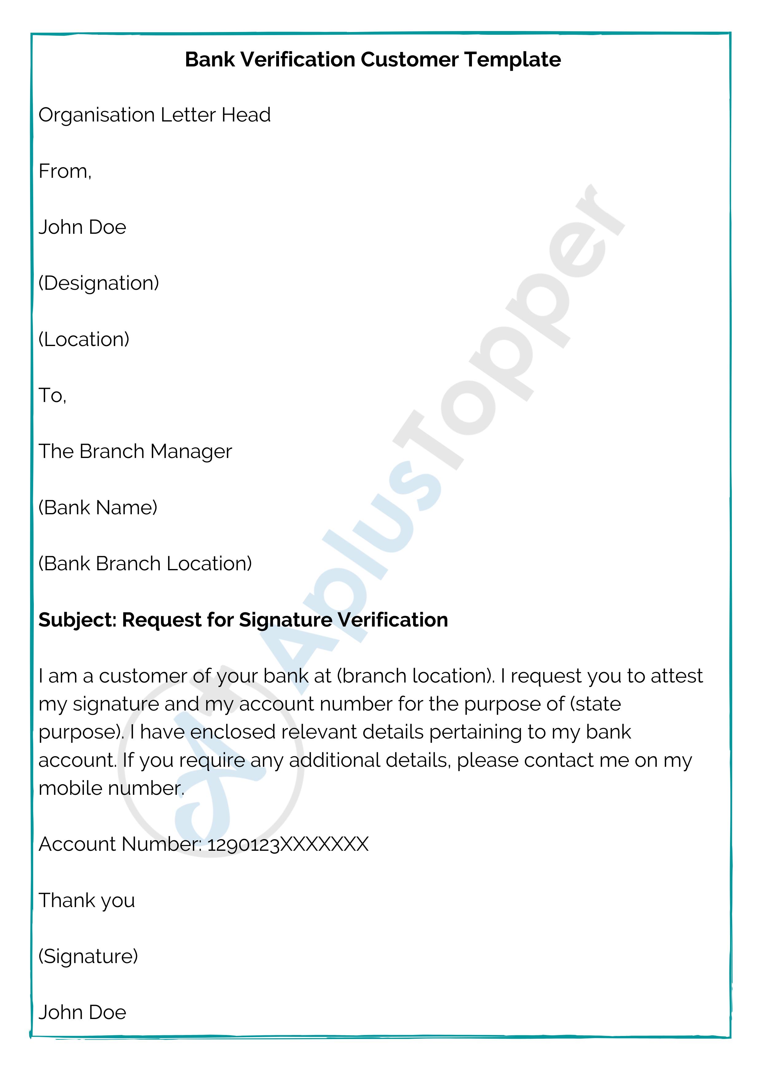 Bank Verification Customer Template