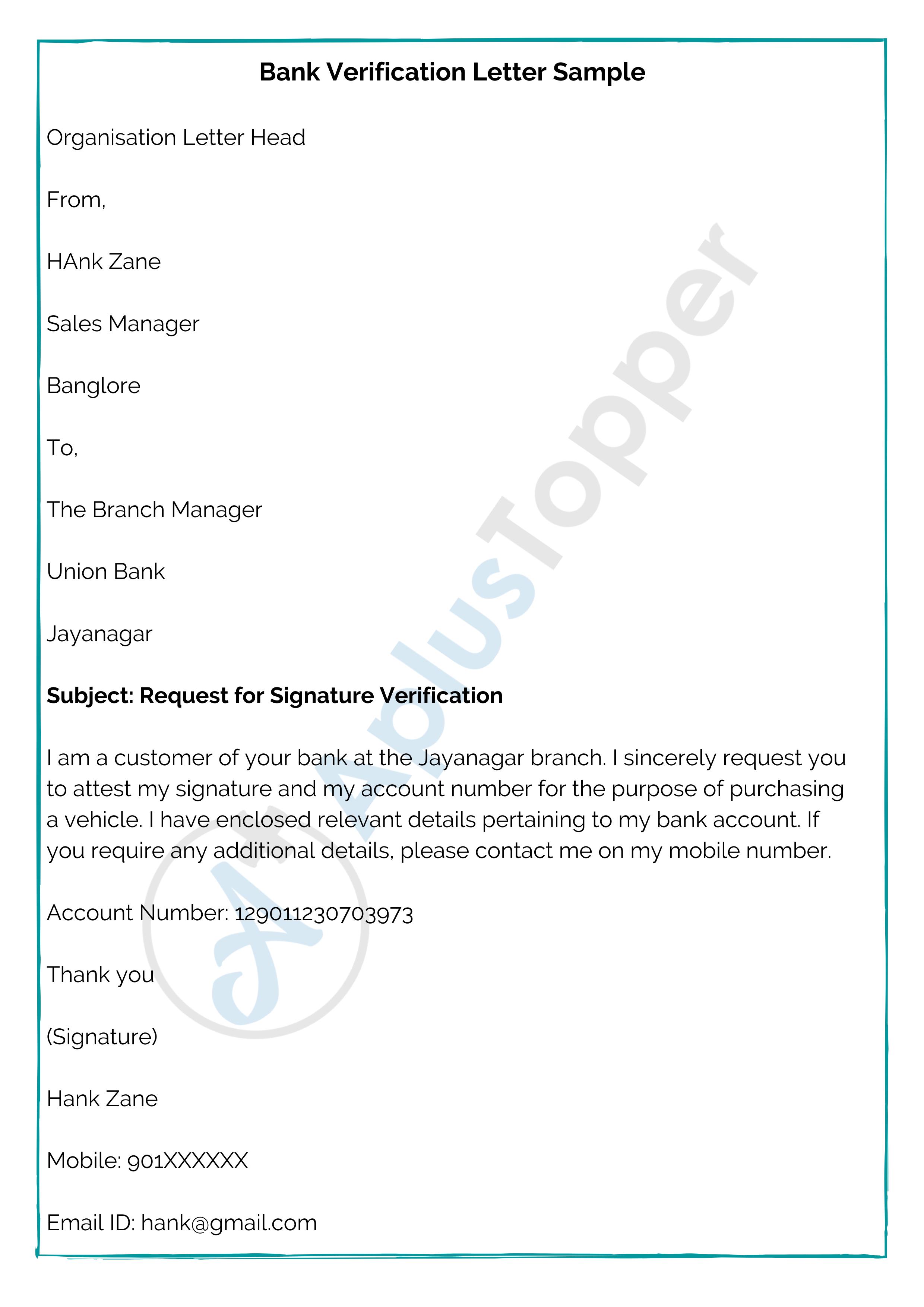 Bank Verification Letter Sample