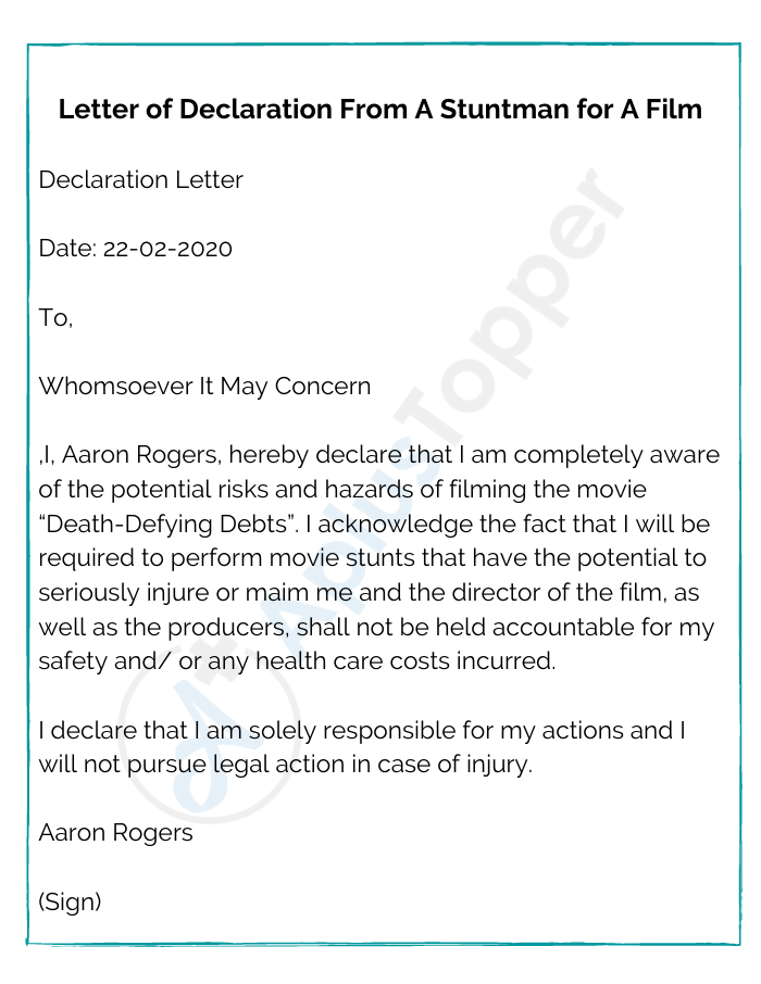 Letter of Declaration From A Stuntman for A Film