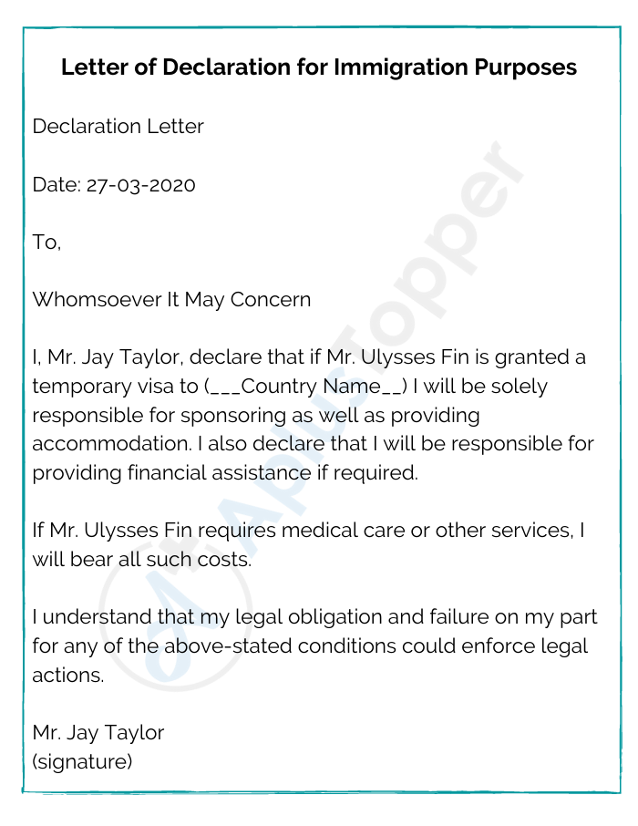 Letter of Declaration for Immigration Purposes
