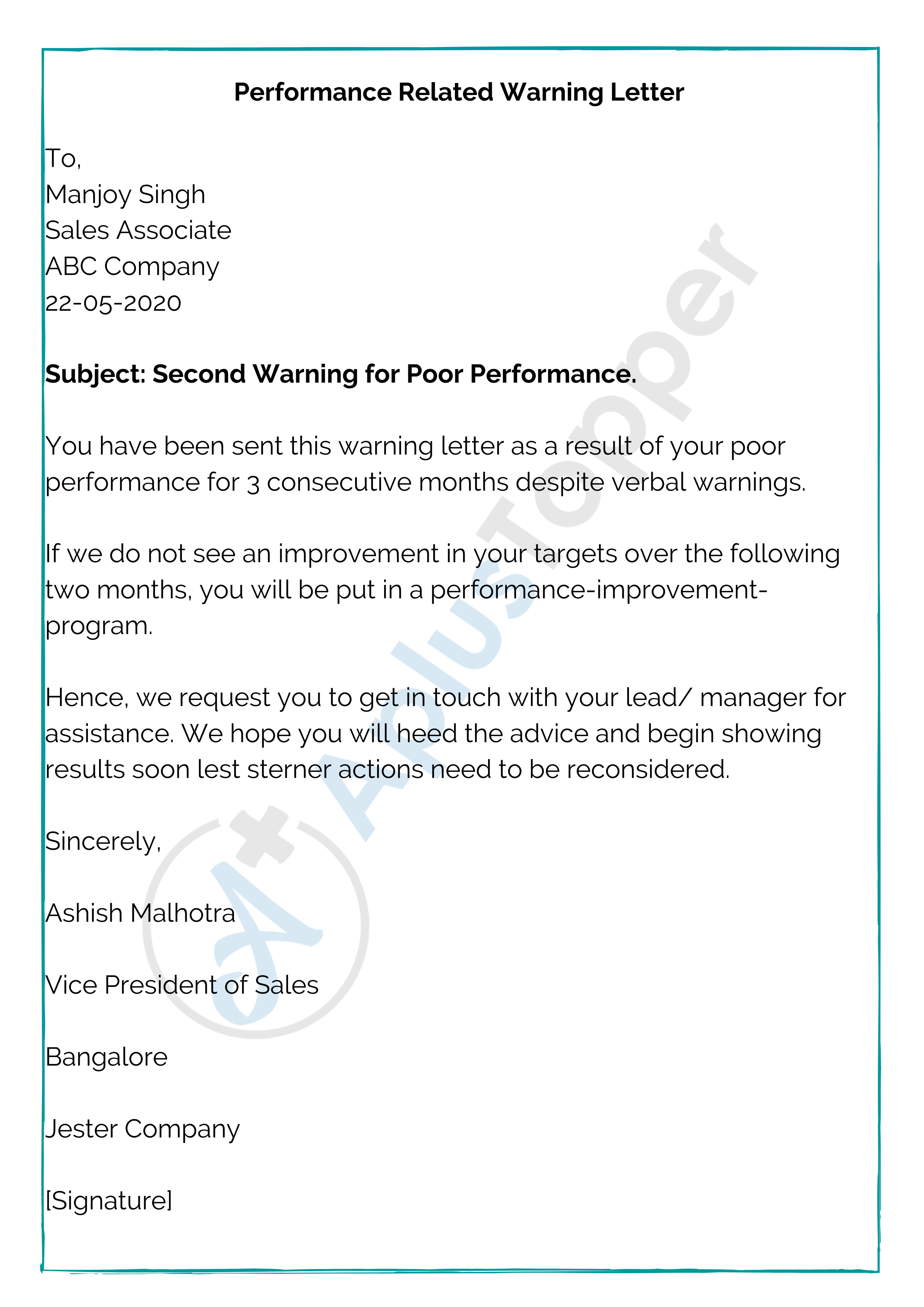 Performance Related Warning Letter