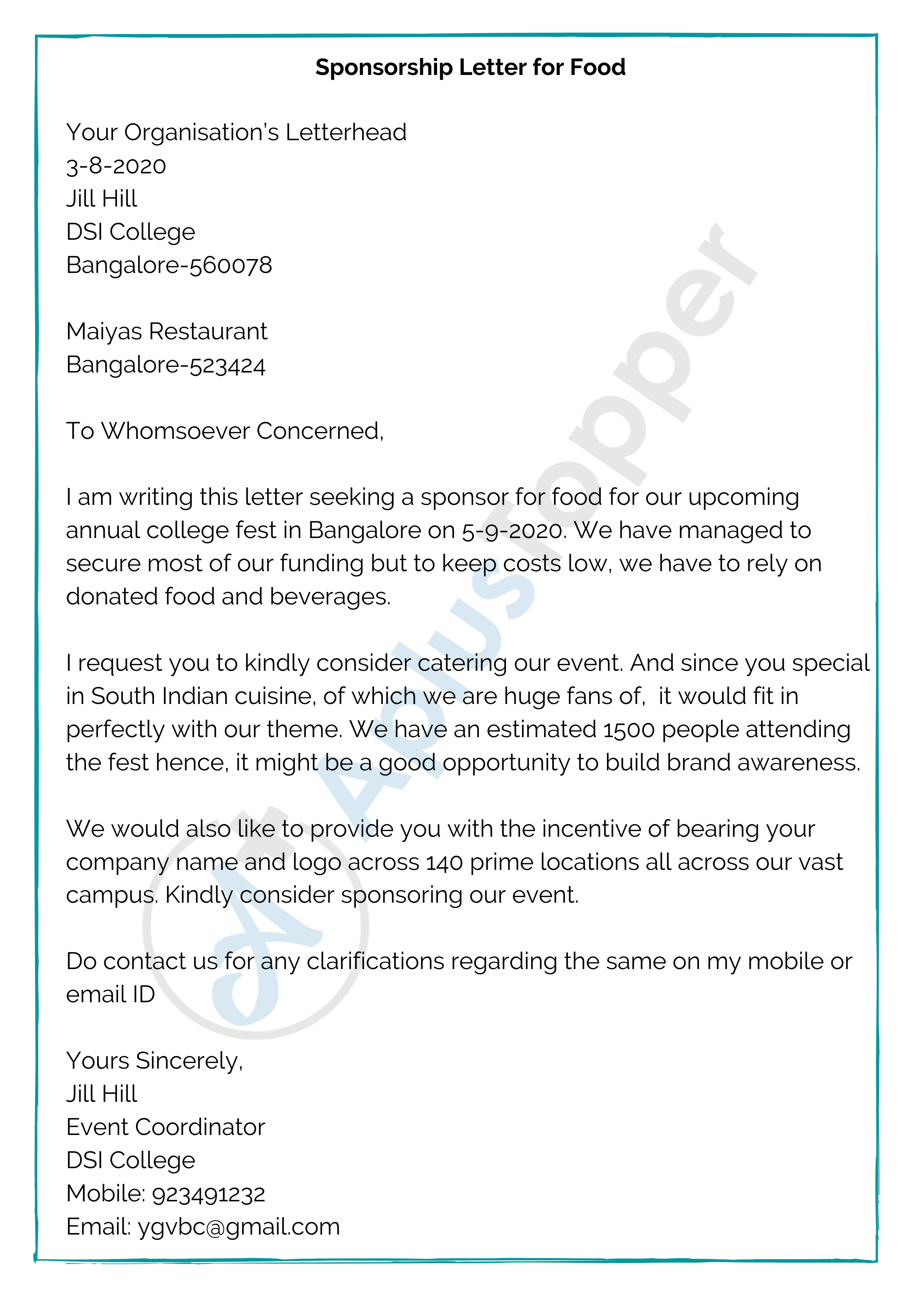 Sponsorship Letter Food