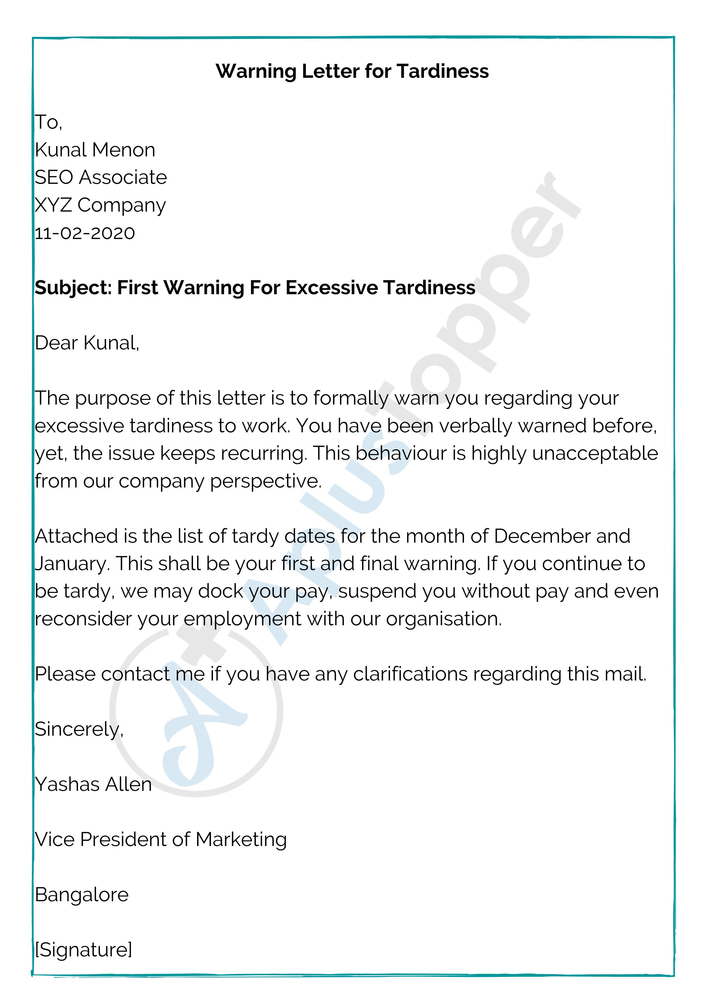 Warning Letter for Tardiness
