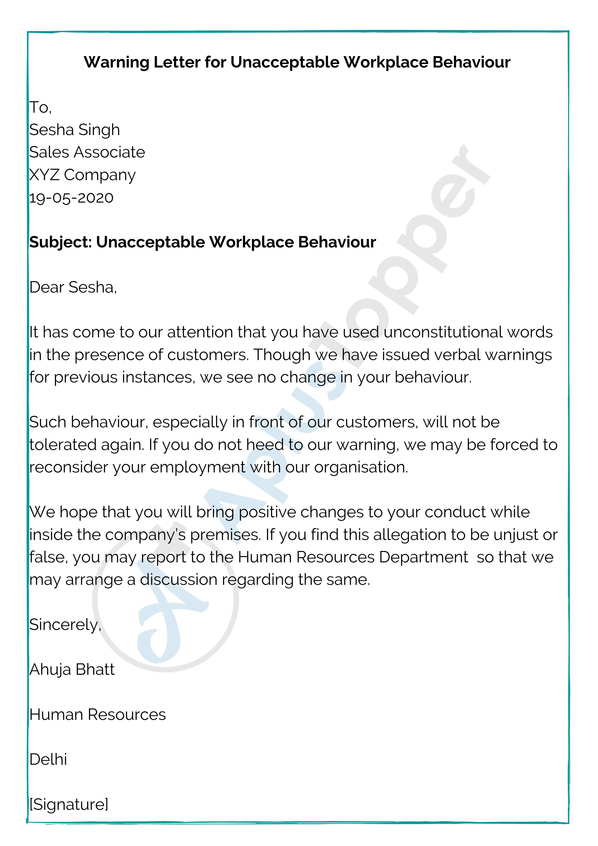Warning Letter for Unacceptable Workplace Behaviour