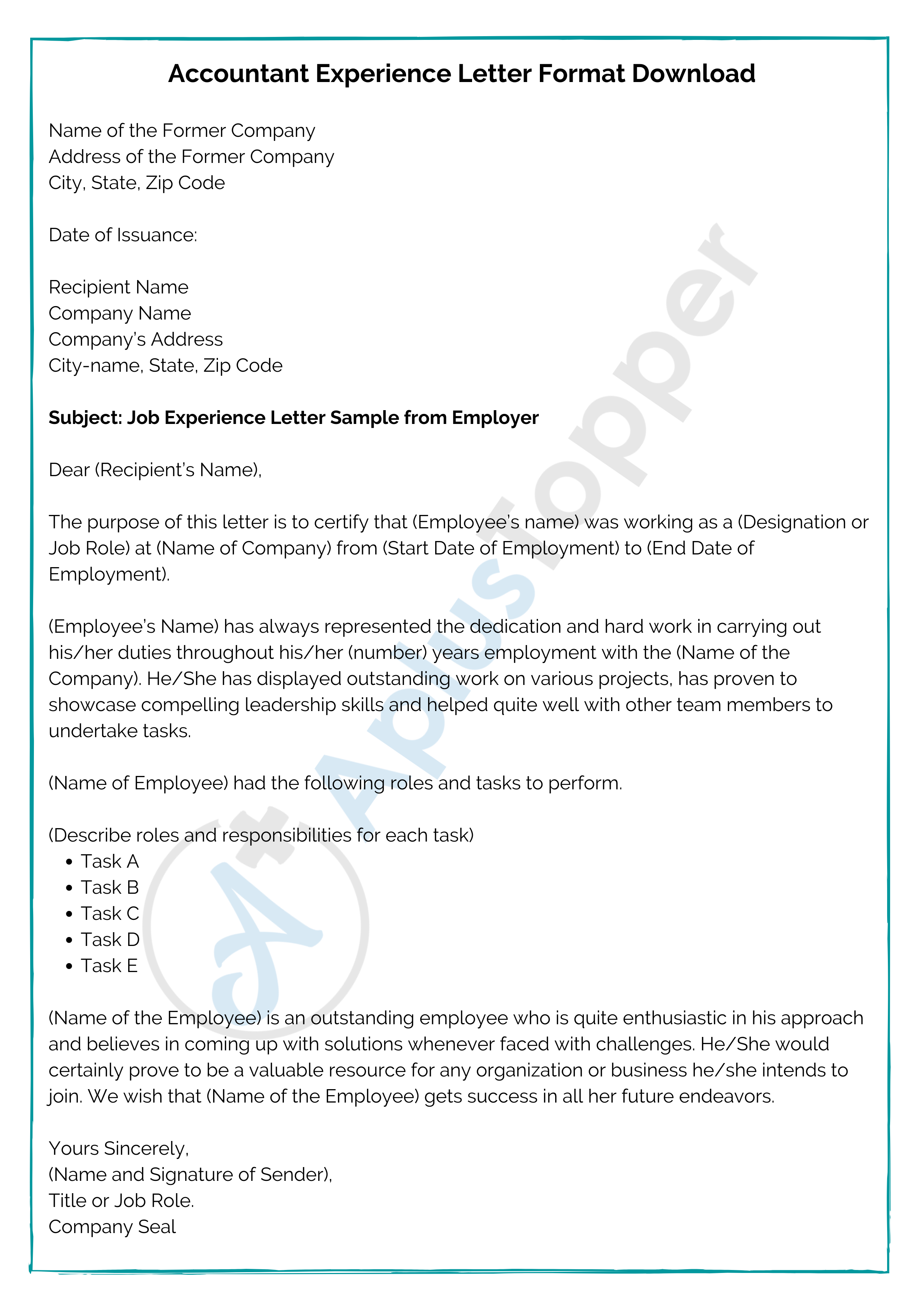 Accountant Experience Letter Format Download