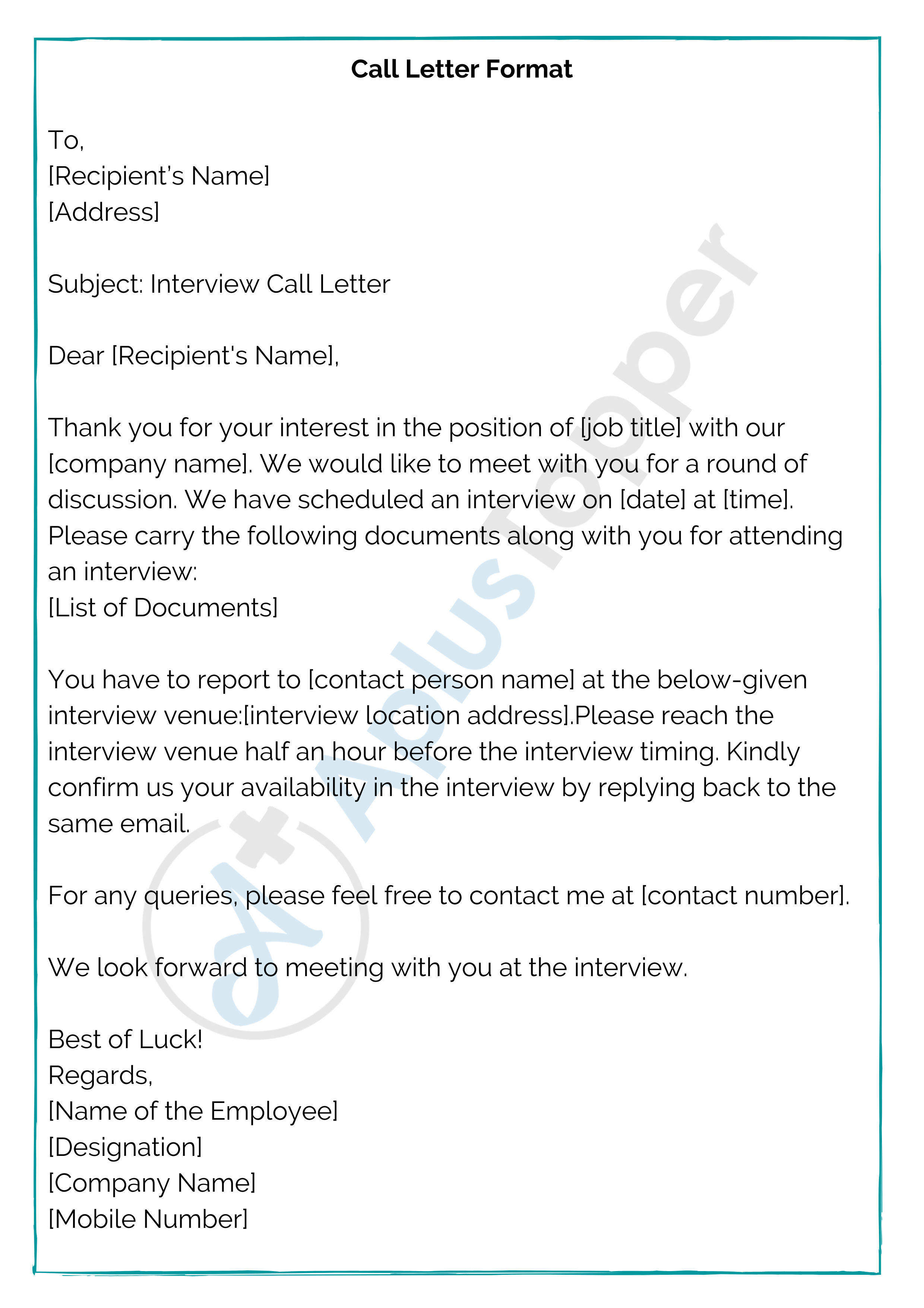 Call Letter Format