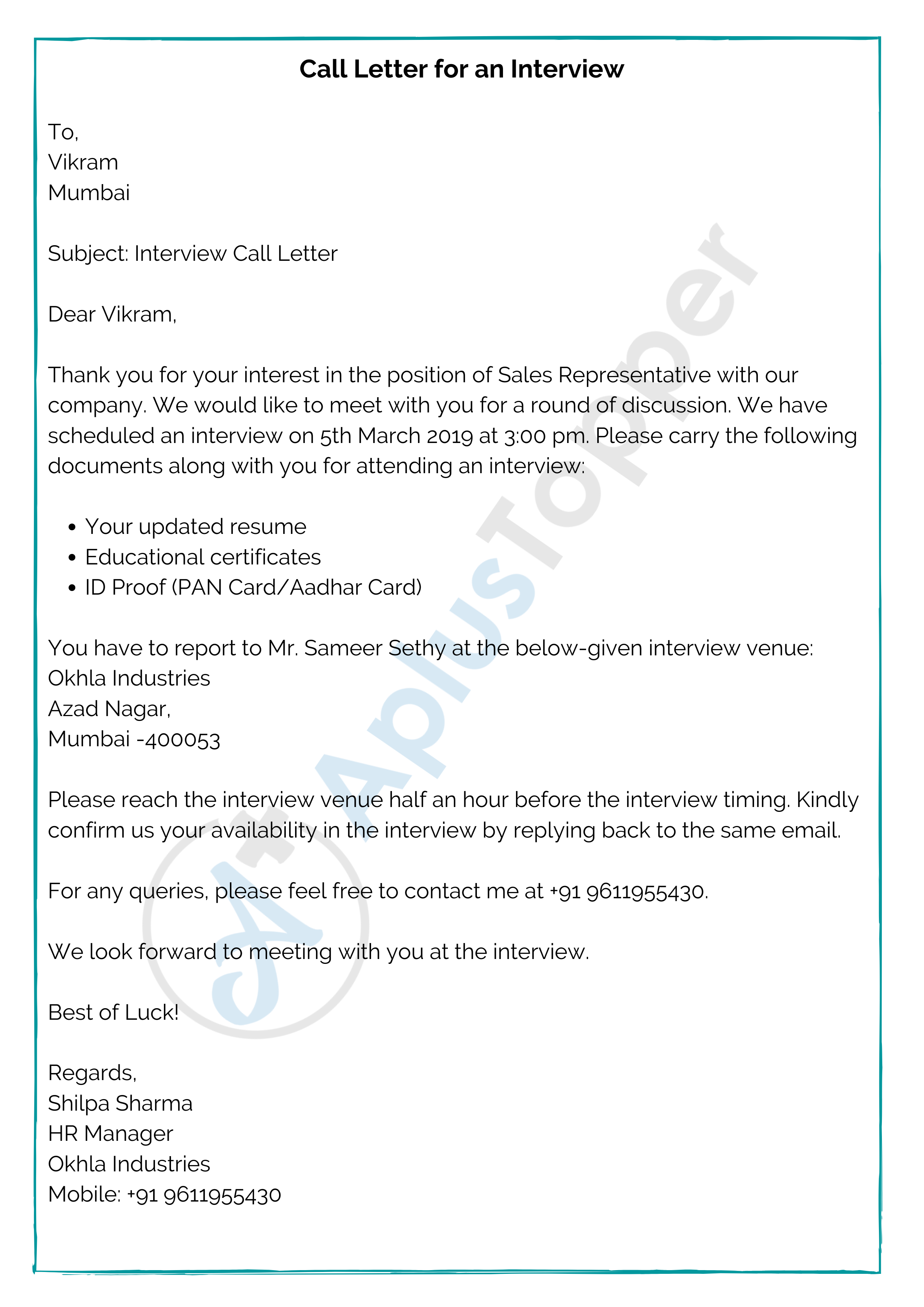 Call Letter for an Interview
