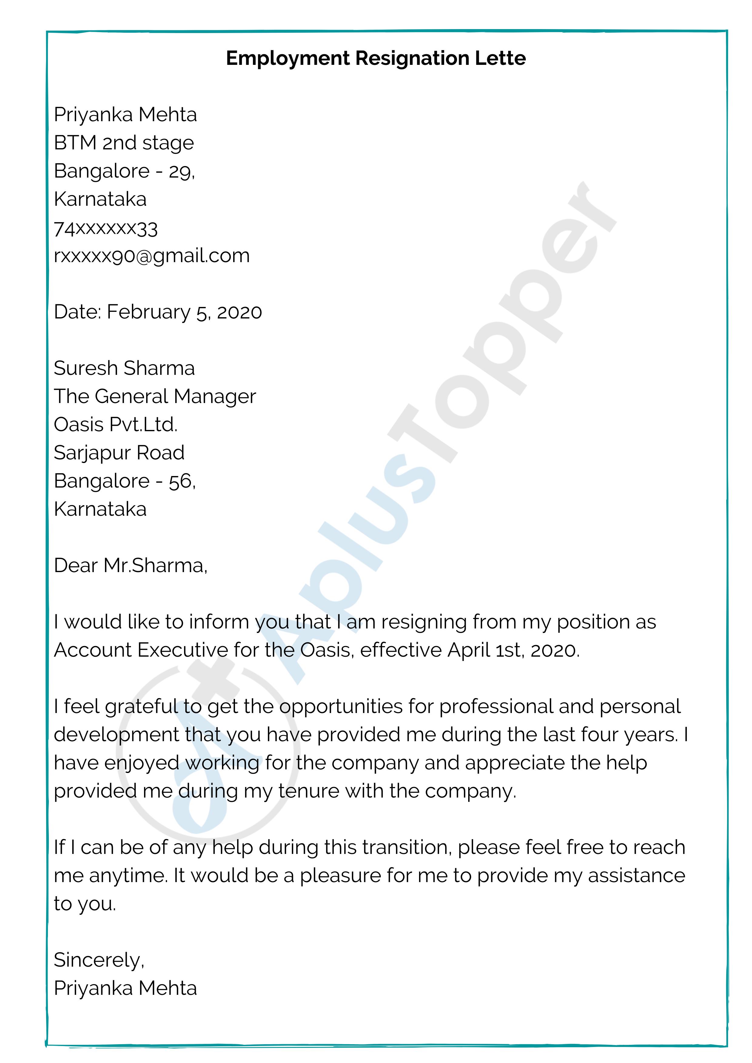 Employment Resignation Letter Sample