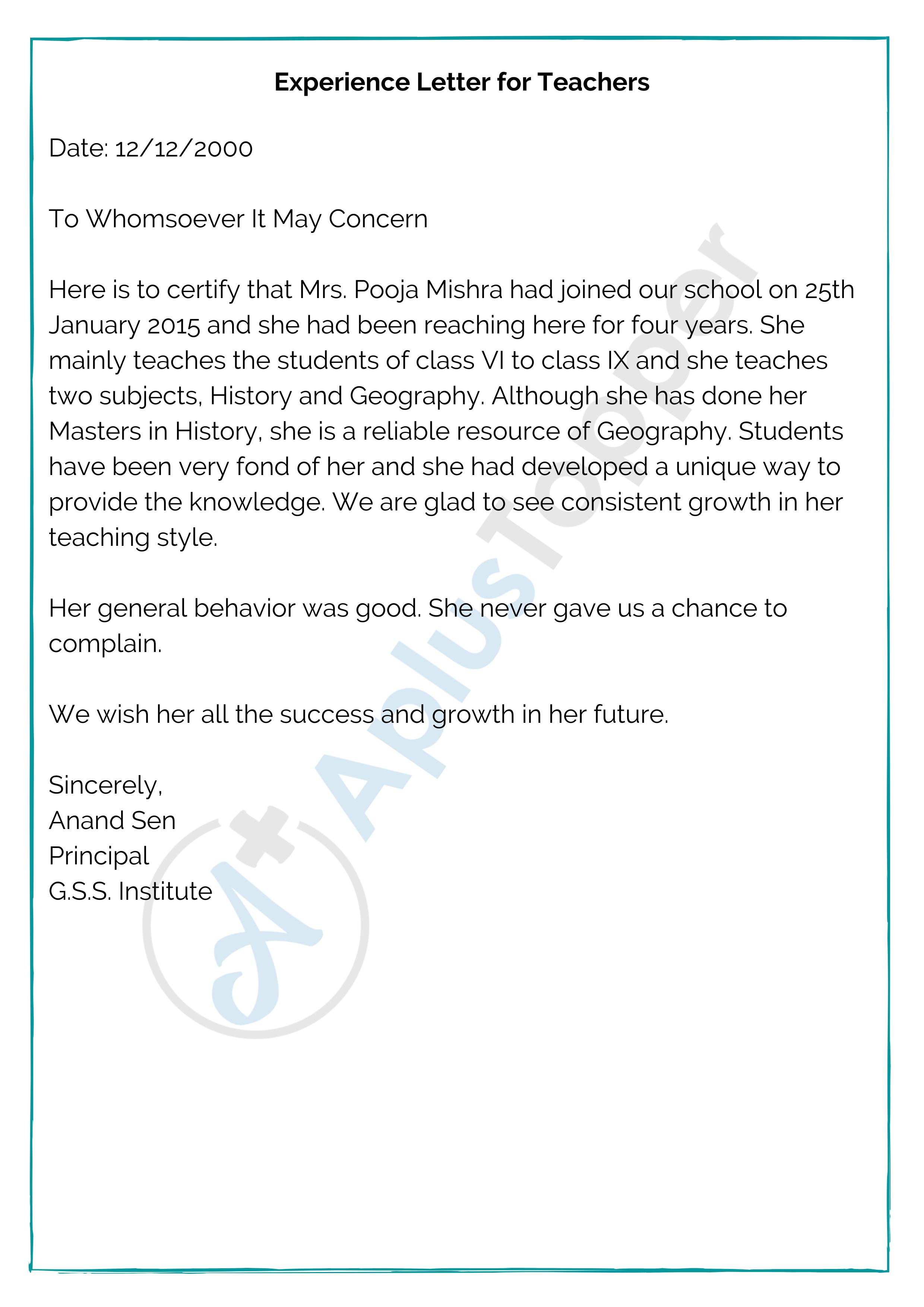 Experience Letter for Teachers