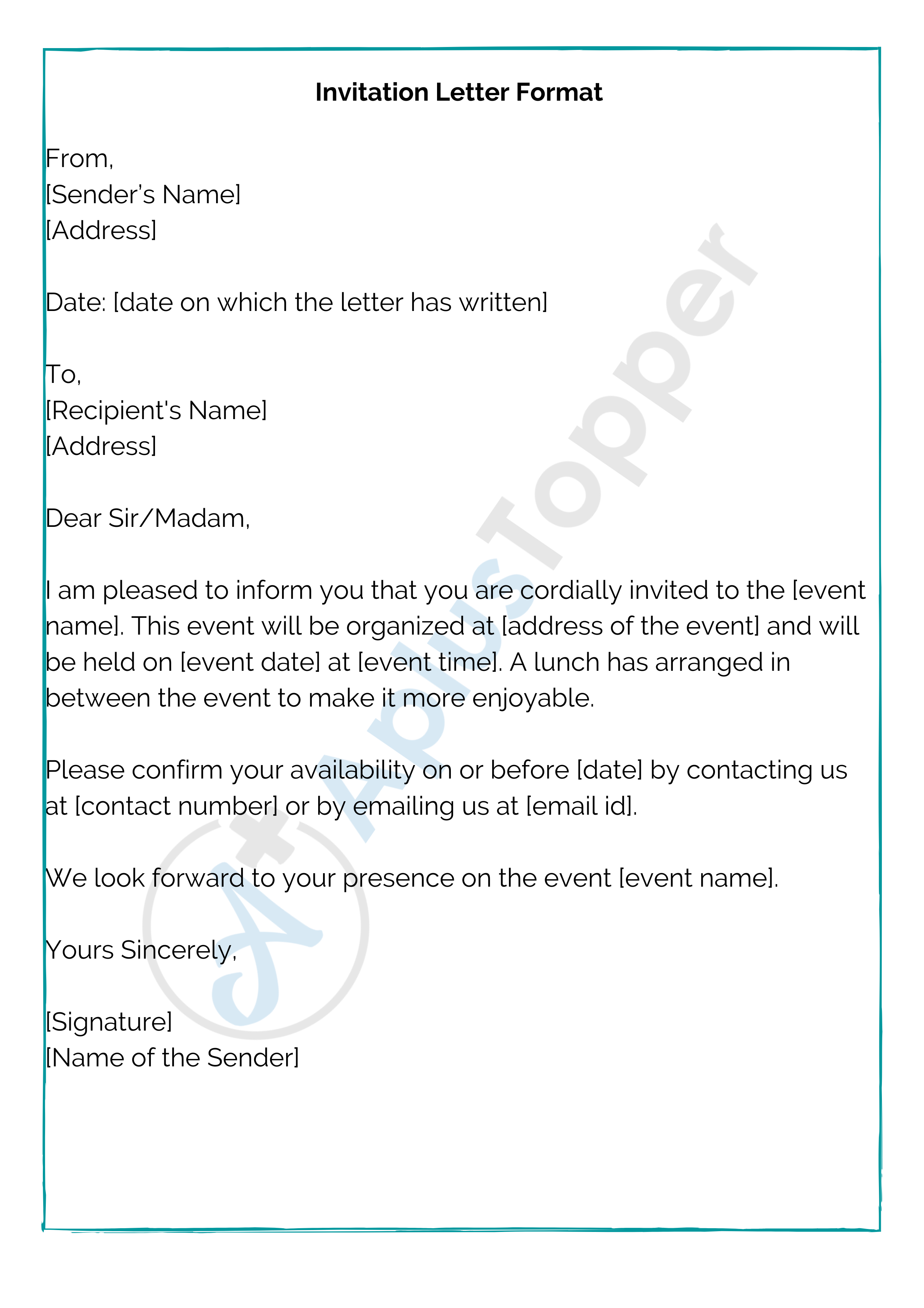 invitation letter  format samples and how to write an