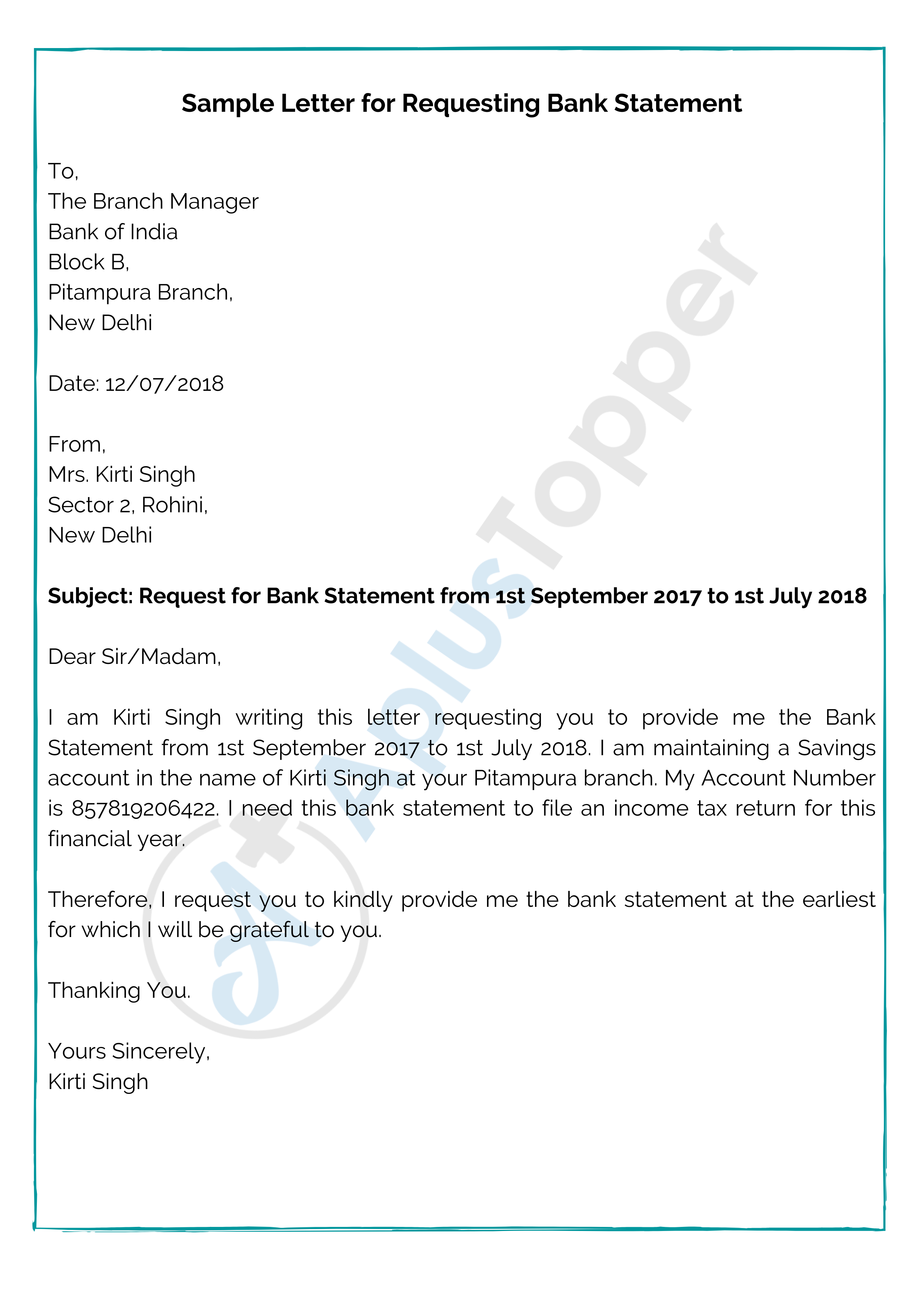 Bank Statement Request Letter Format Samples And How To Write A Bank Statement Request Letter A Plus Topper