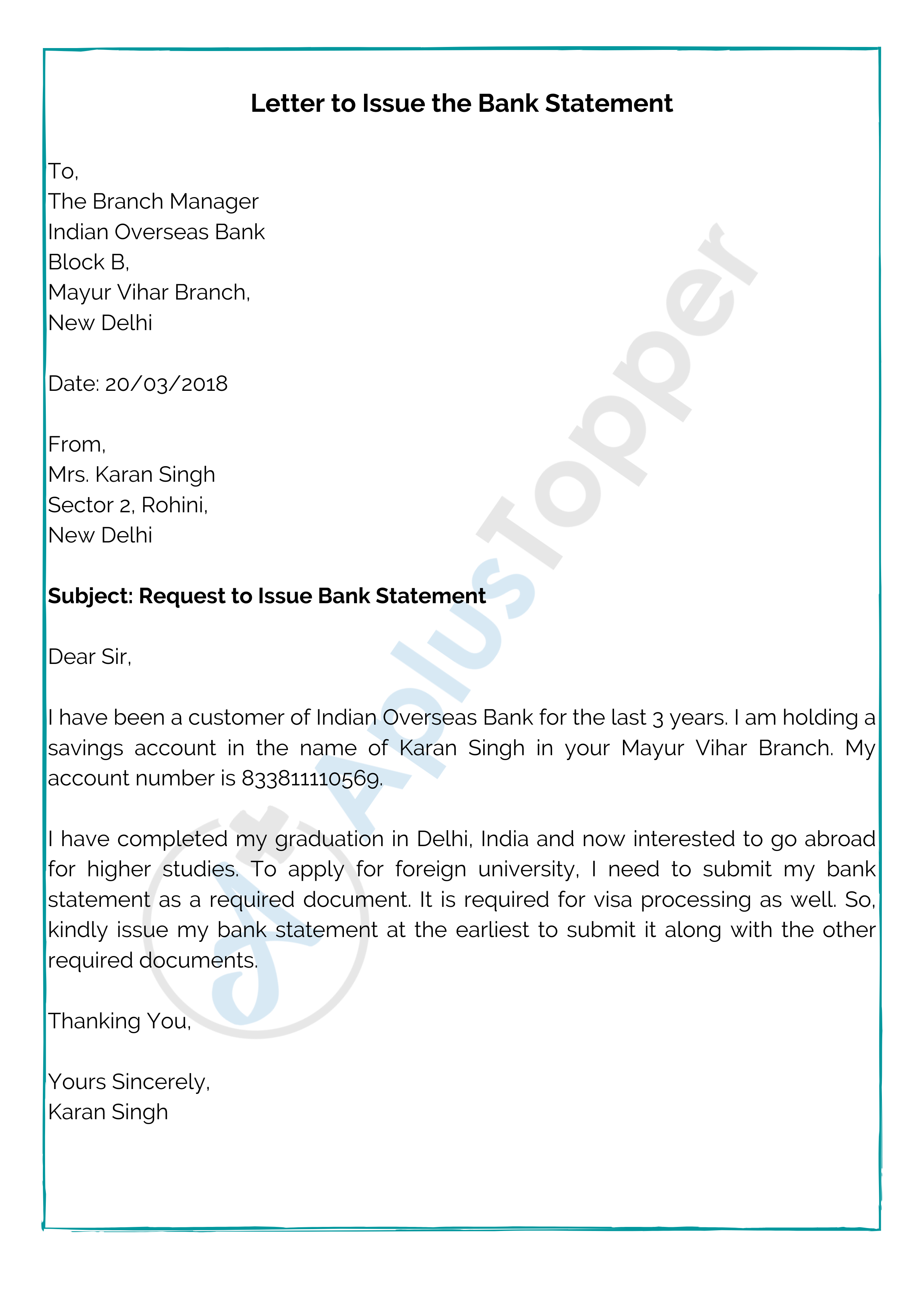 Letter to Issue the Bank Statement
