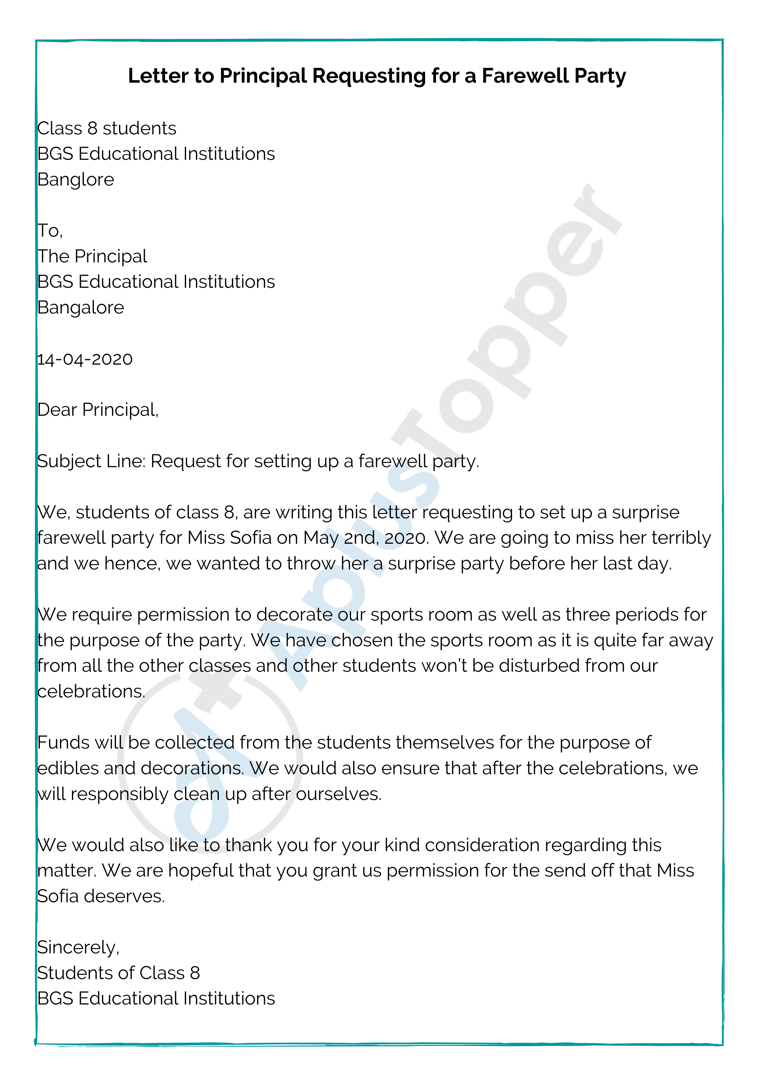 Letter to Principal Requesting for a Farewell Party