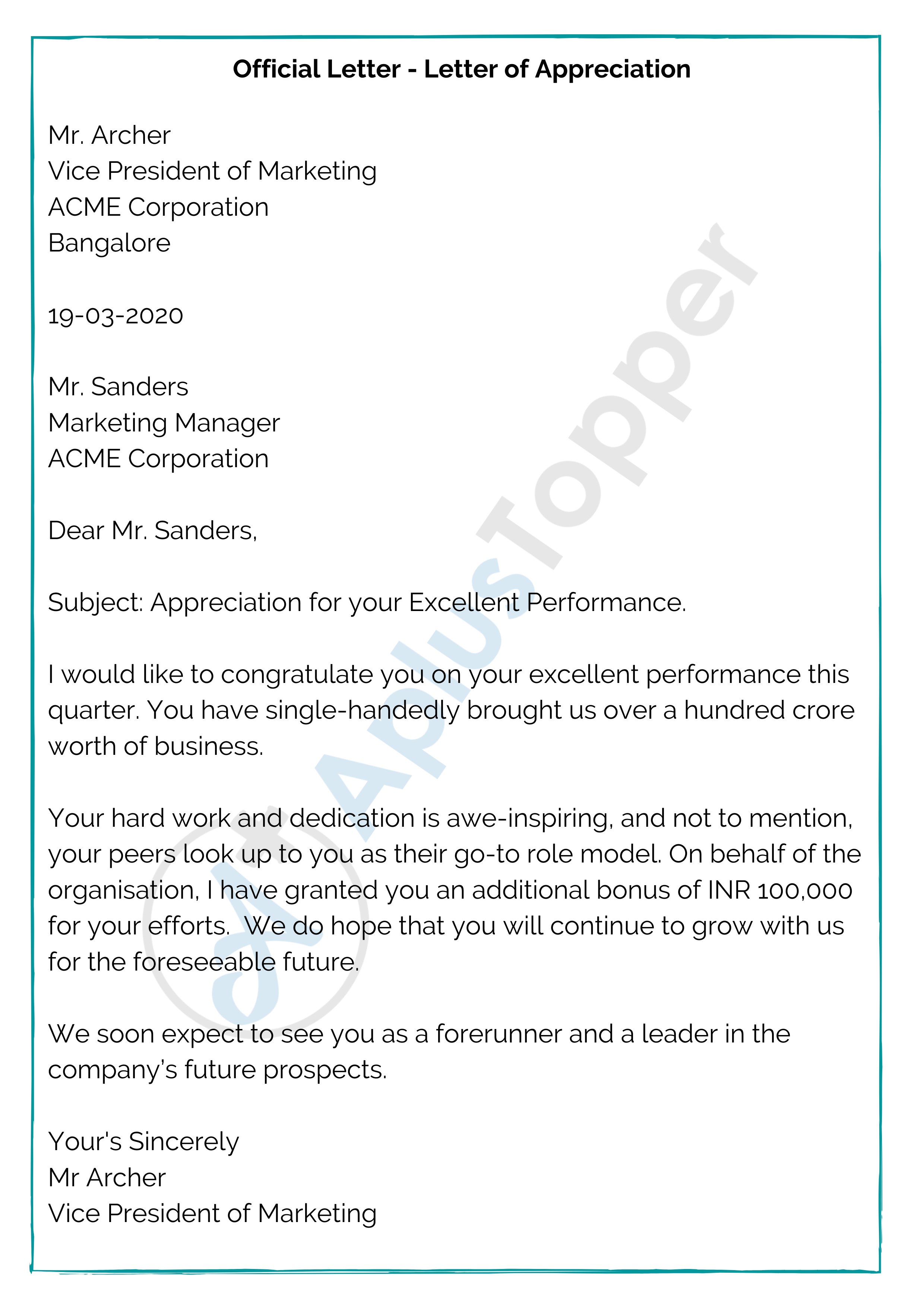 Official Letter - Letter of Appreciation