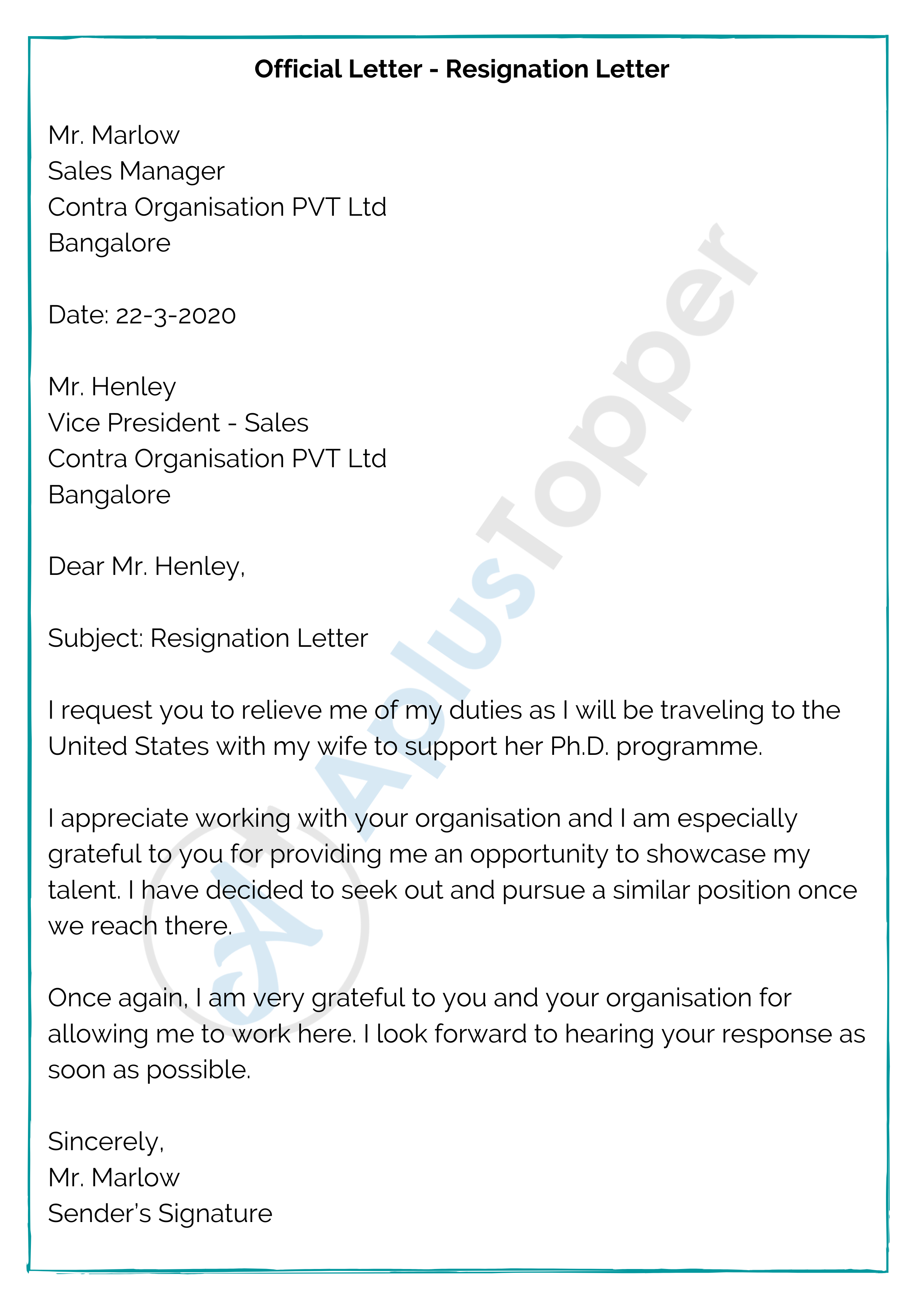 Official Letter - Resignation Letter