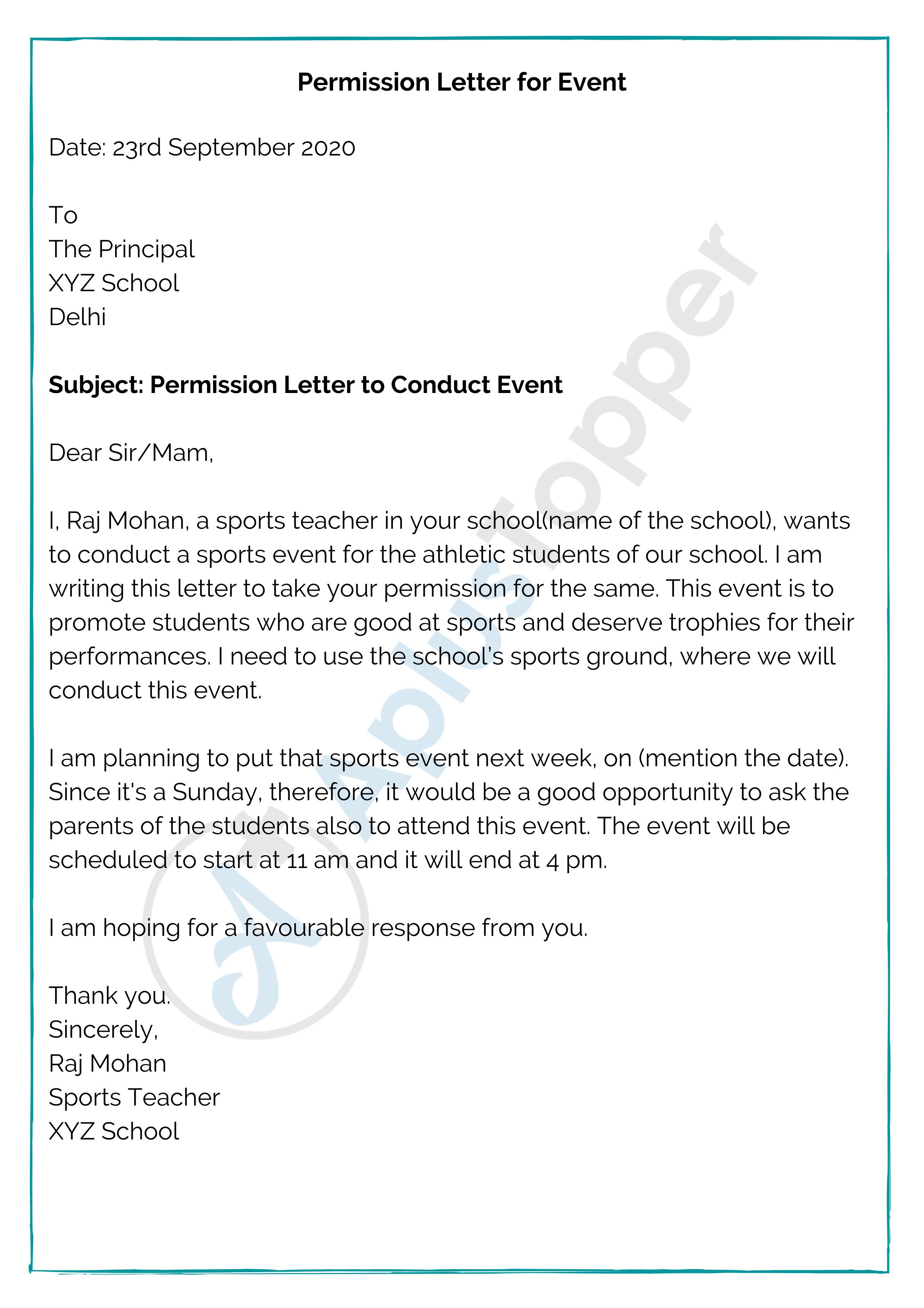 Permission Letter for Event