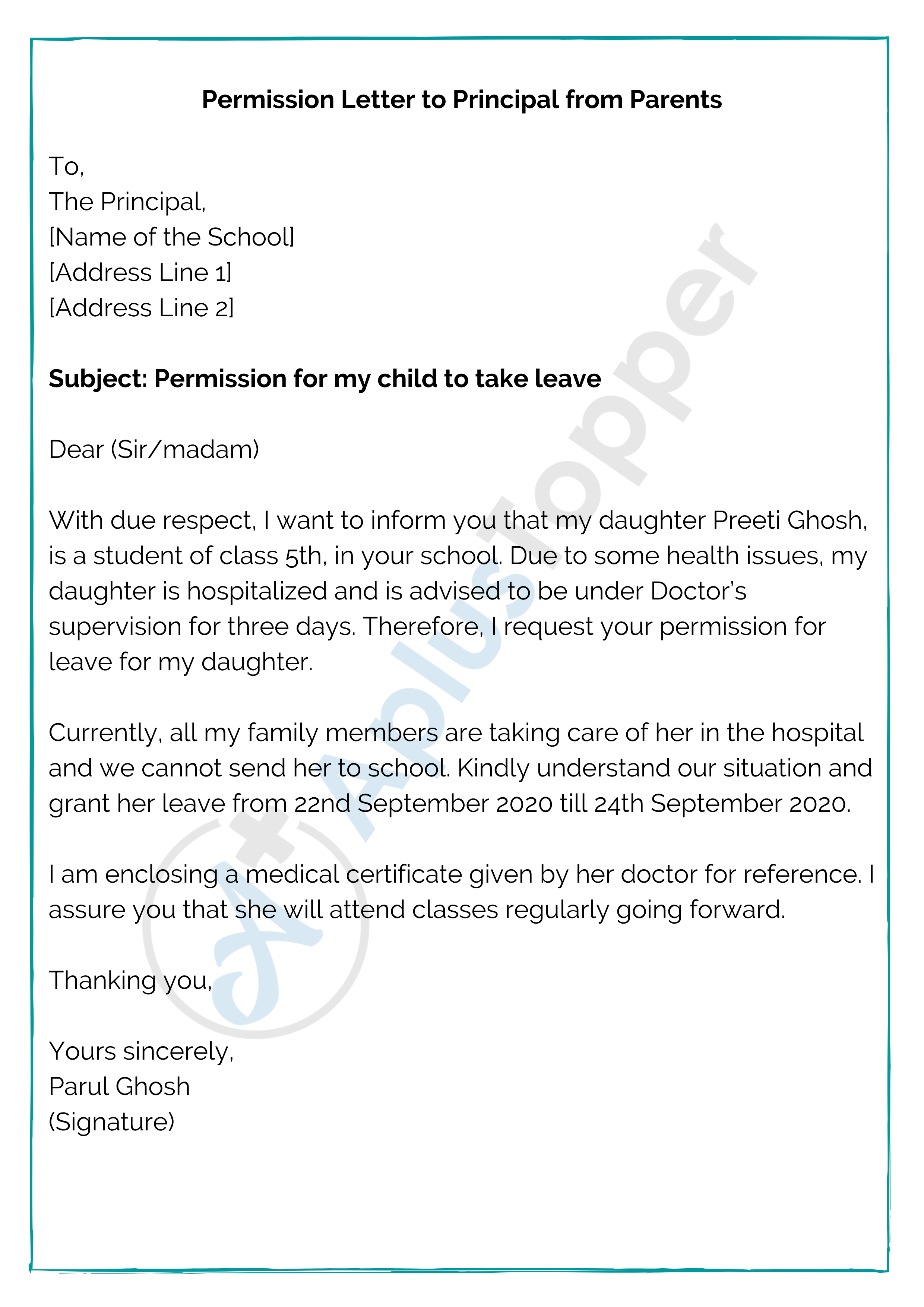 Permission Letter to Principal from Parents