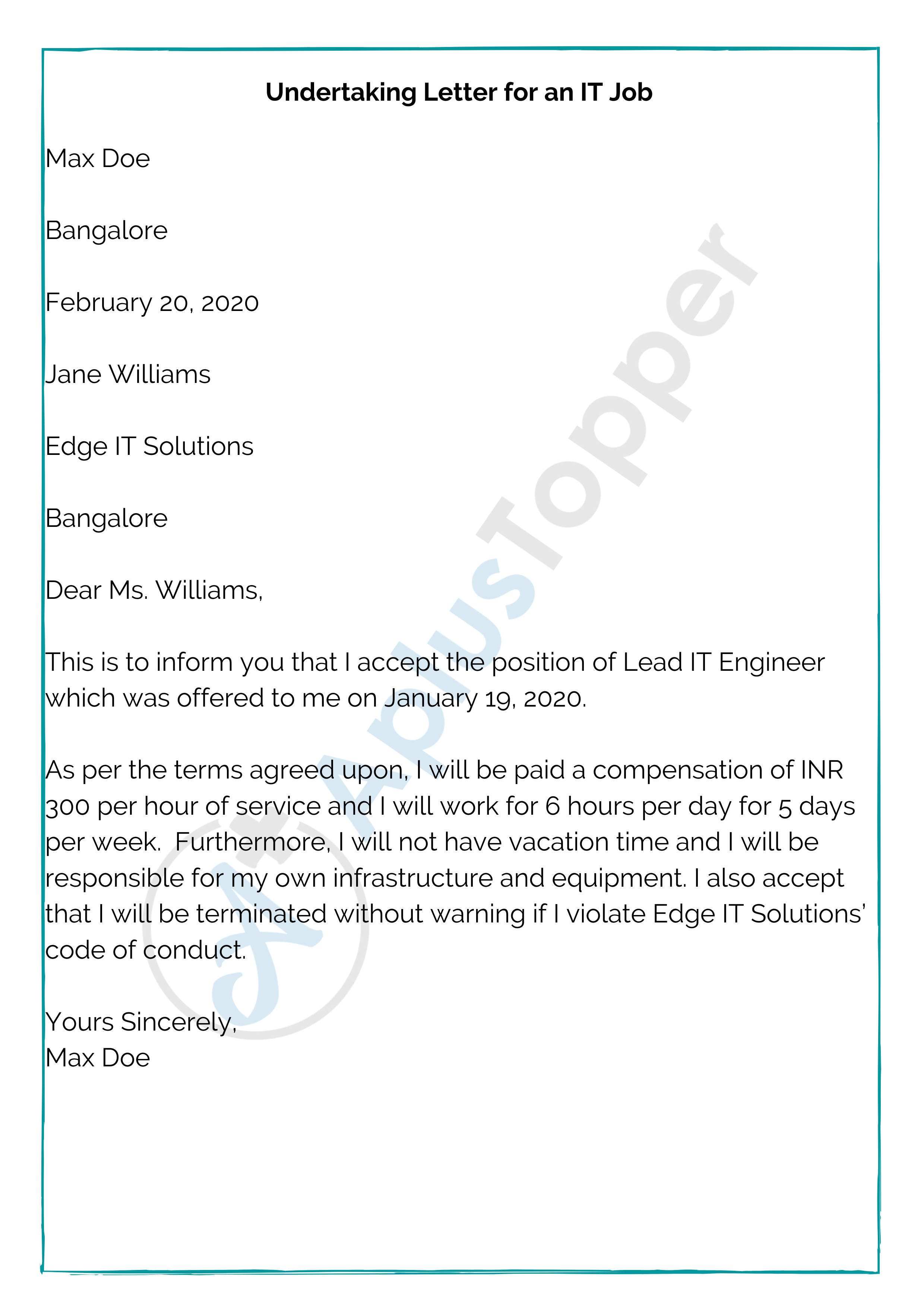 Undertaking Letter for an IT Job