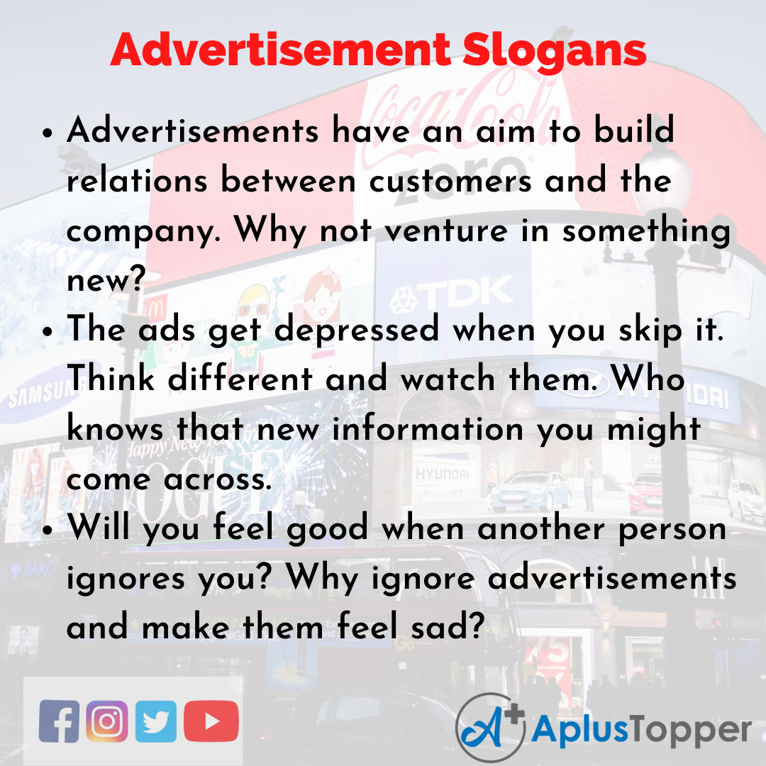 5 Slogans on Advertisement in English