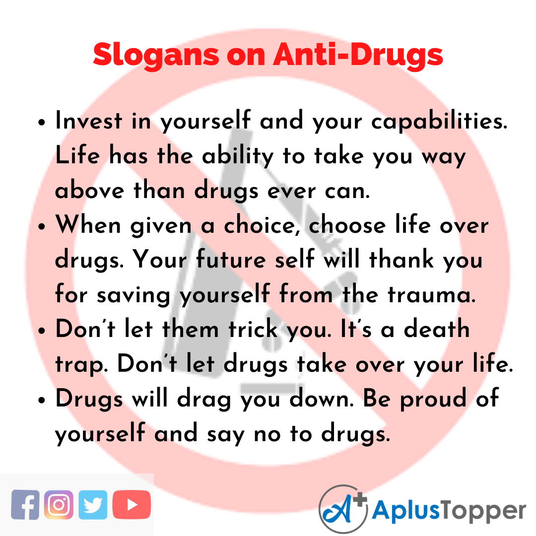 5 Slogans on Anti-Drugs in English