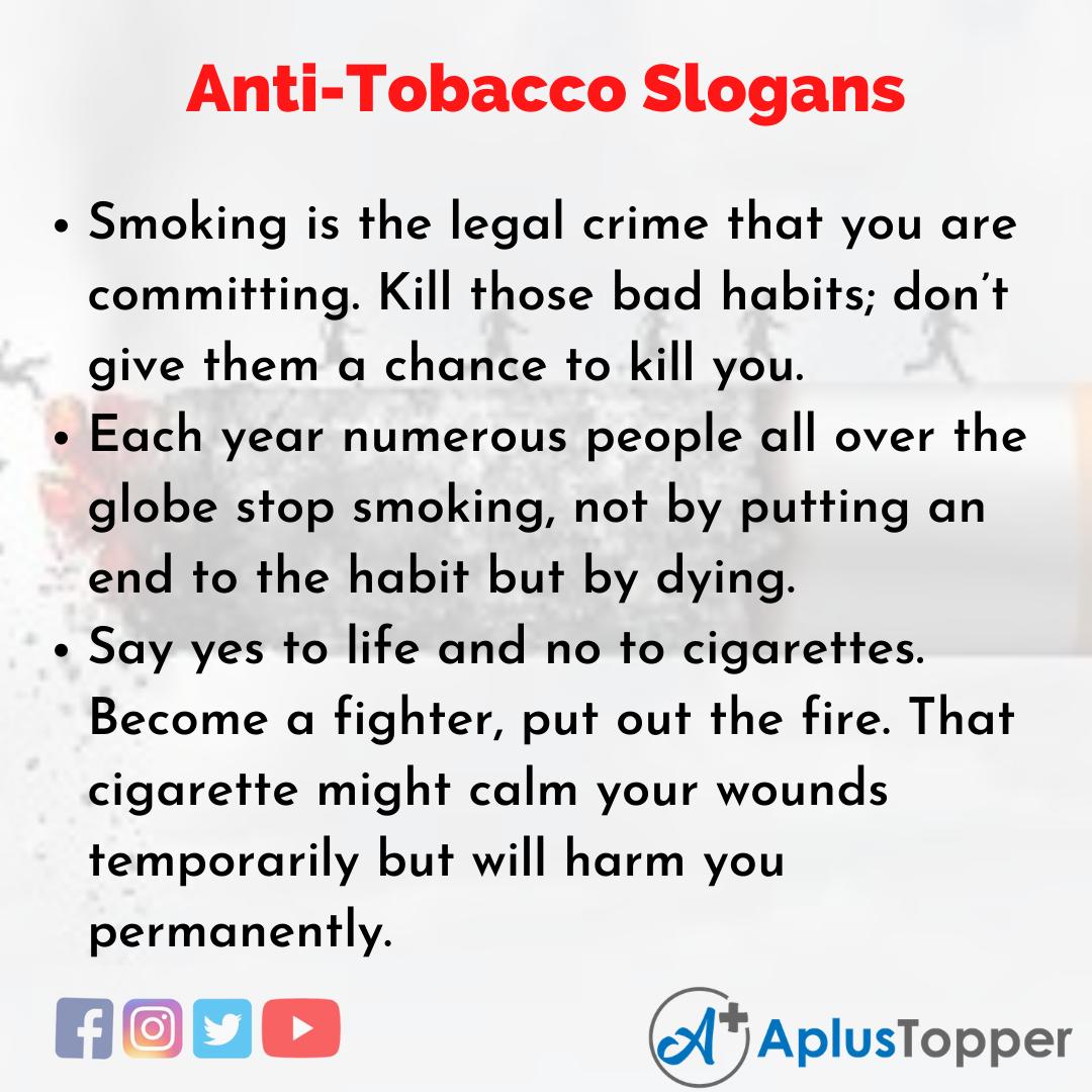 5 Slogans on Anti-Tobacco in English