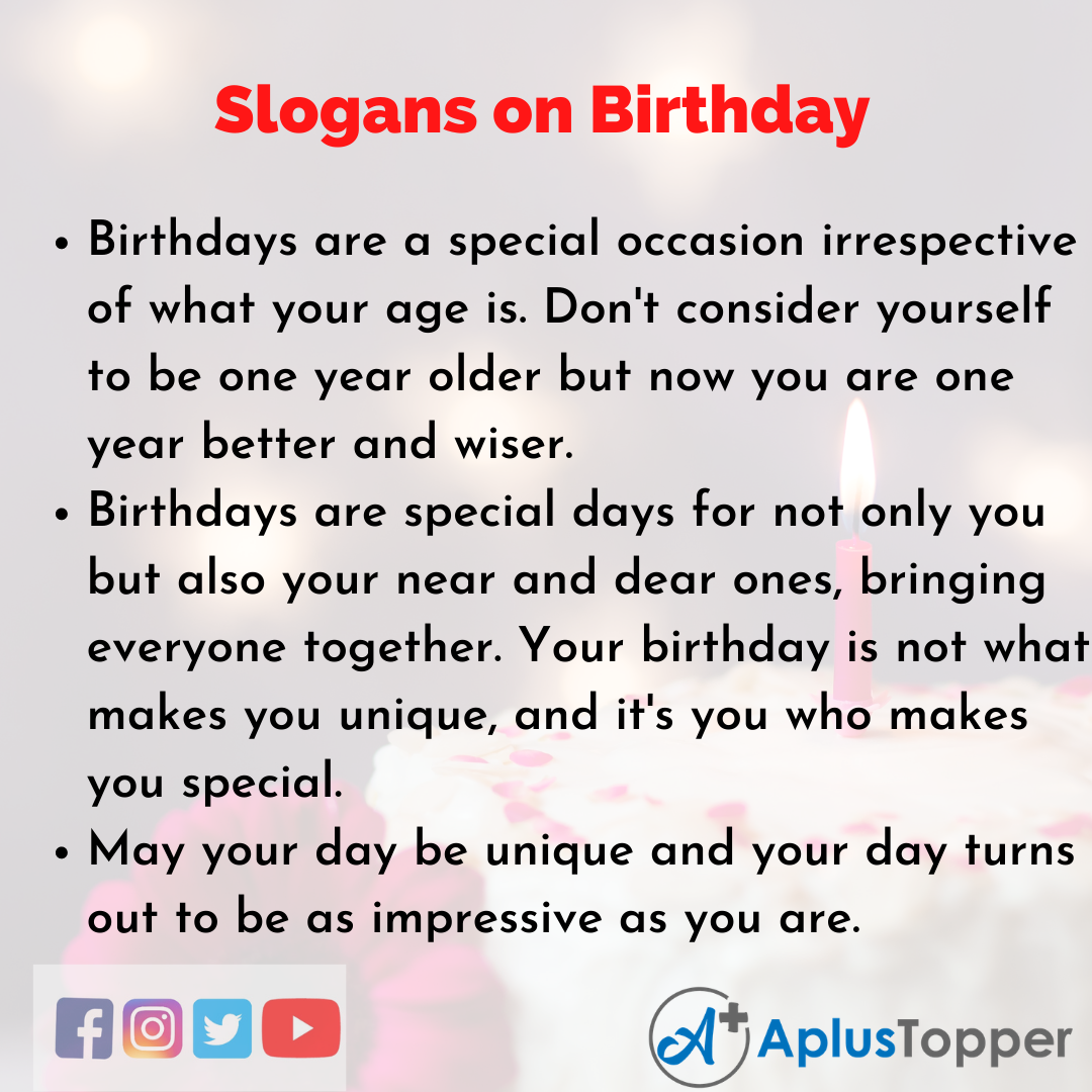 5 Slogans on Birthday in English