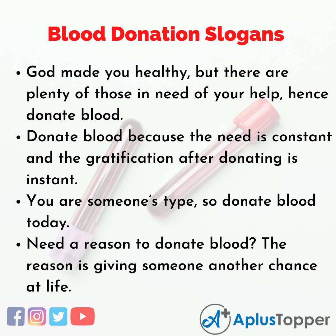5 Slogans on Blood Donation in English