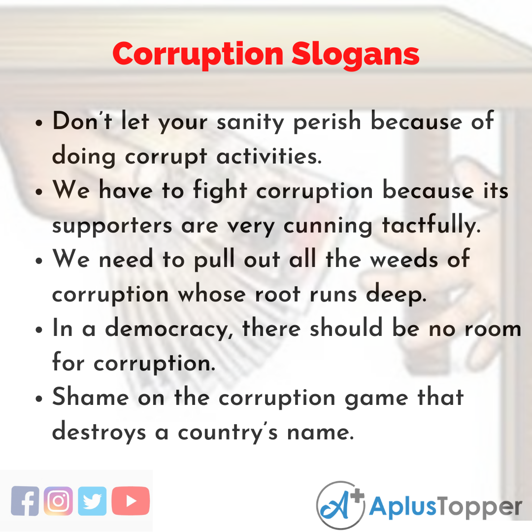 5 Slogans on Corruption in English
