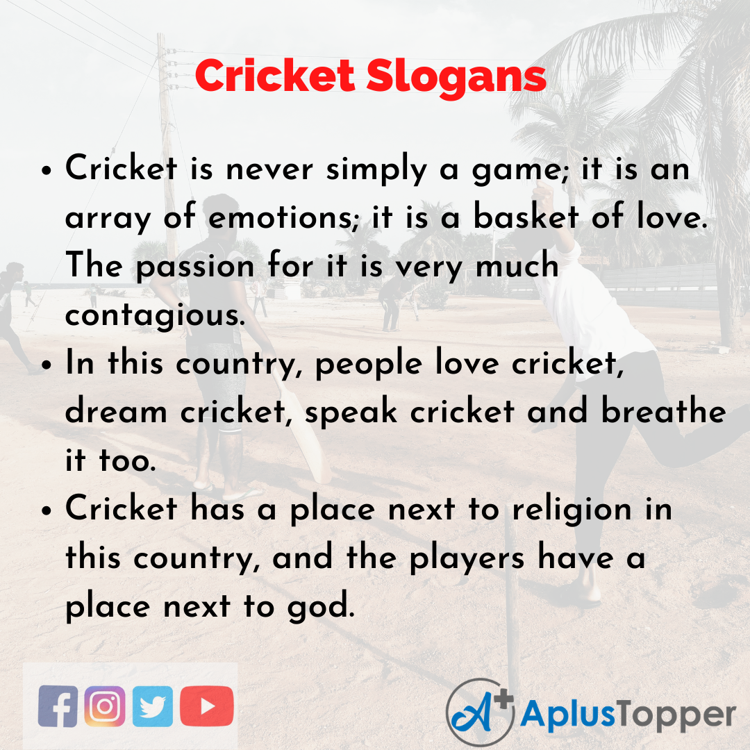 5 Slogans on Cricket in English
