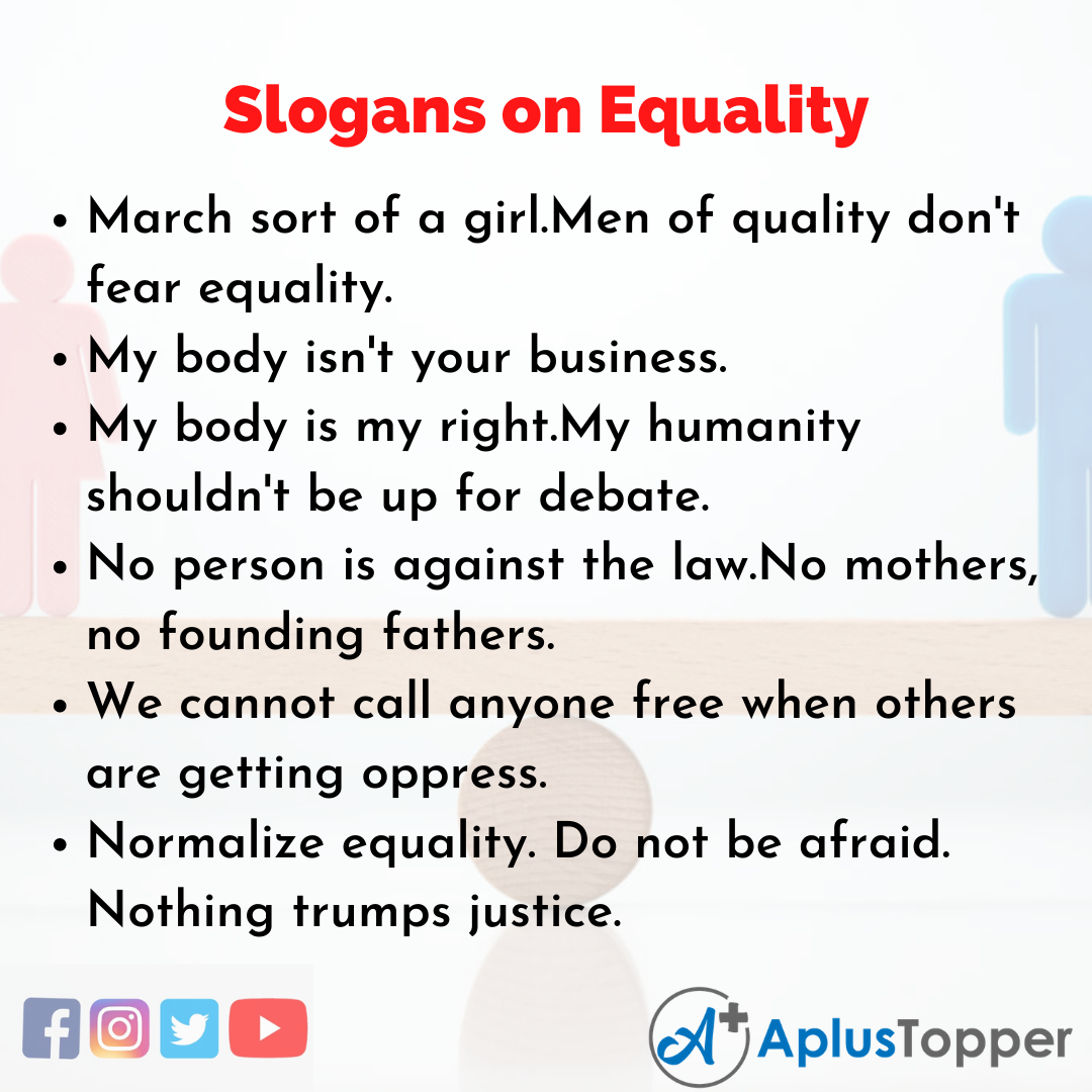 5 Slogans on Equality in English