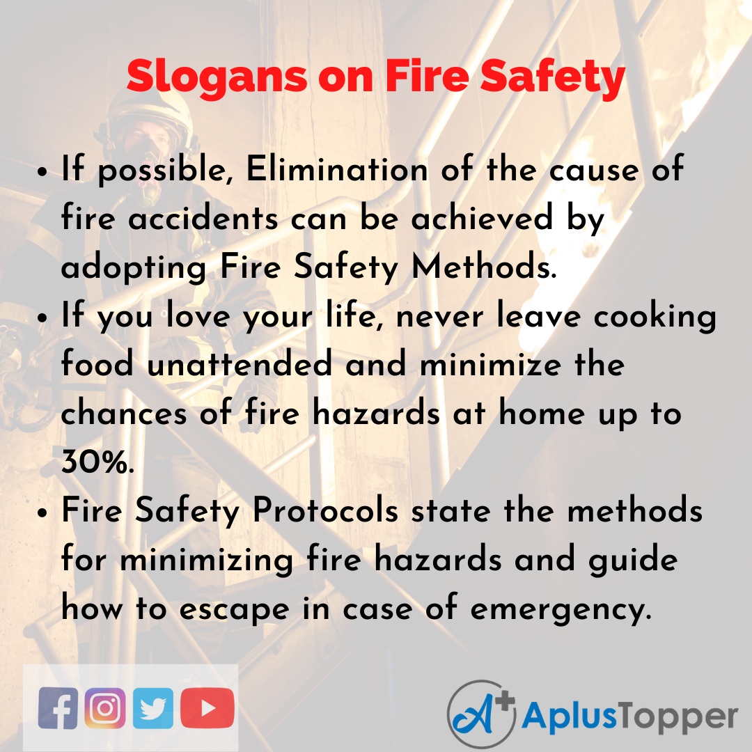 5 Slogans on Fire Safety in English