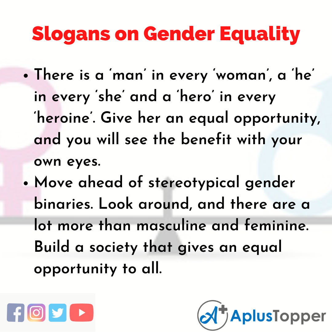 5 Slogans on Gender Equality in English