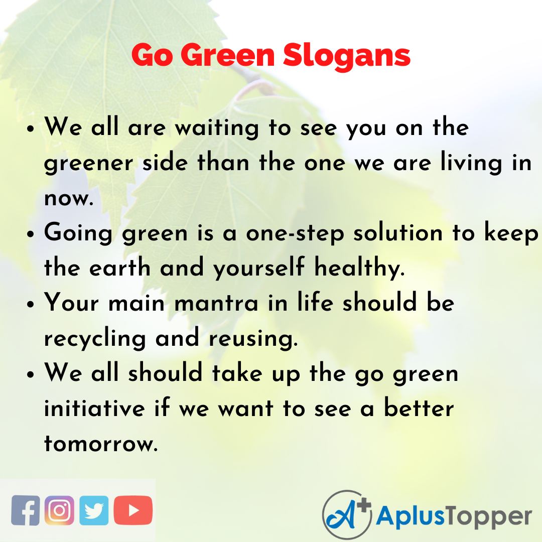 5 Slogans on Go Green in English