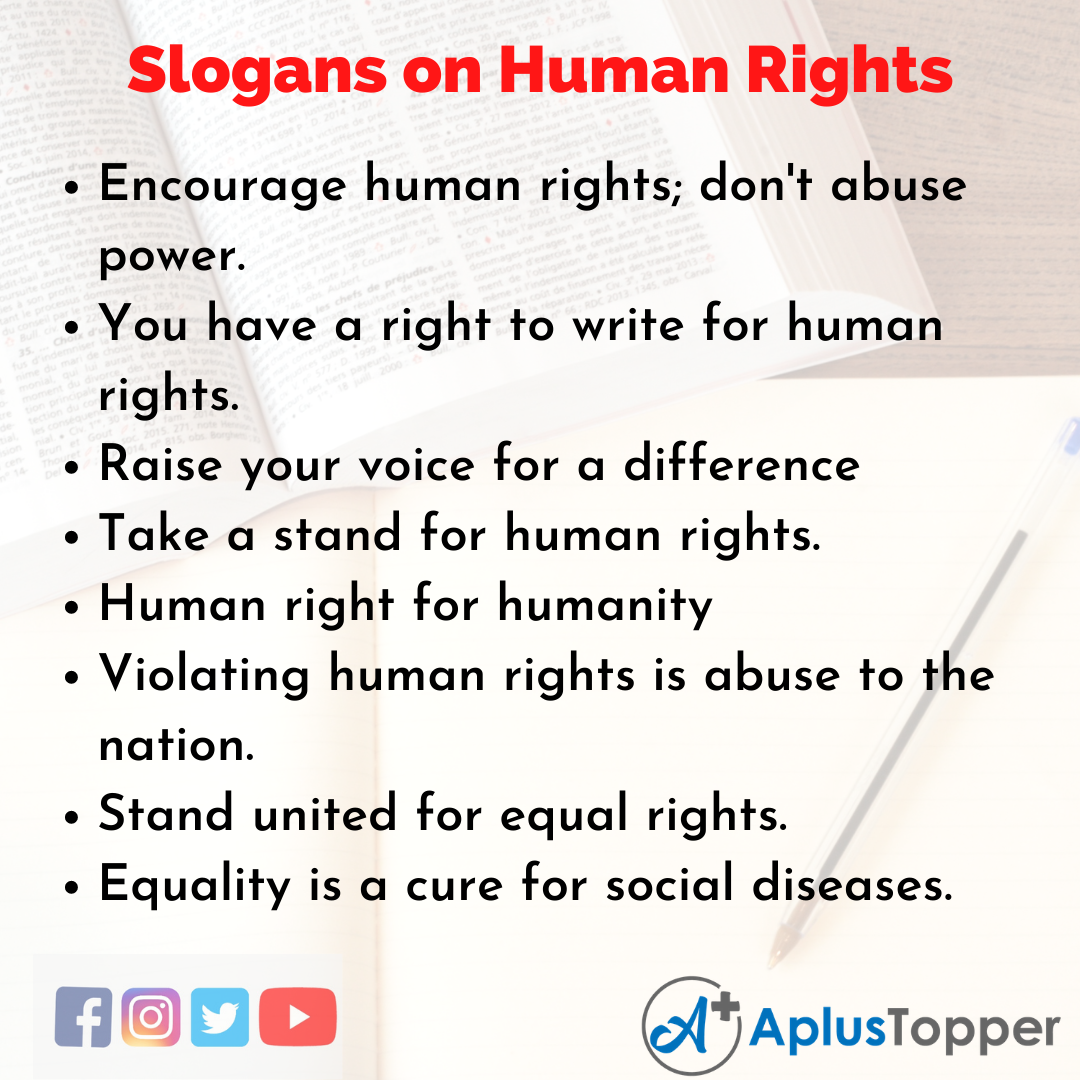5 Slogans on Human RIghts in English