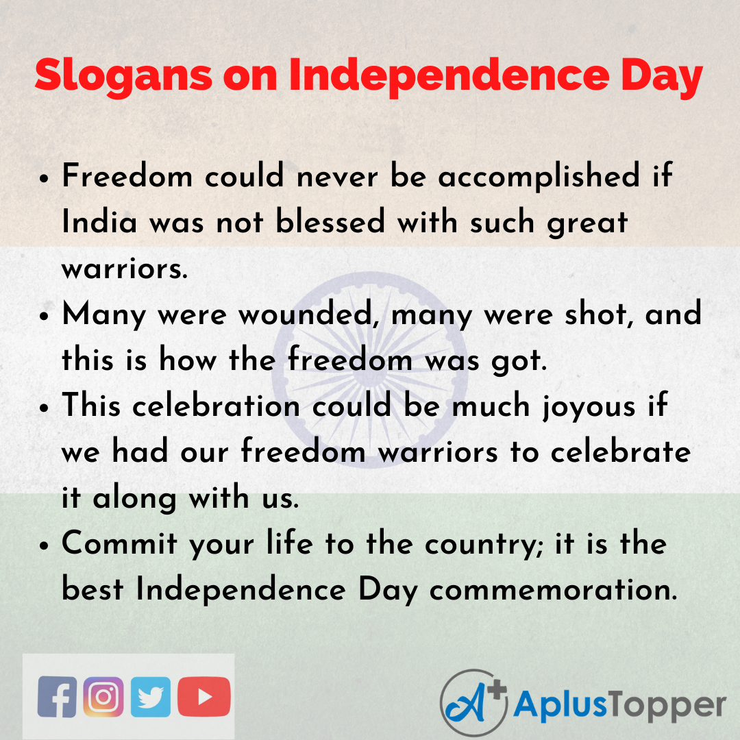 5 Slogans on Independence Day in English