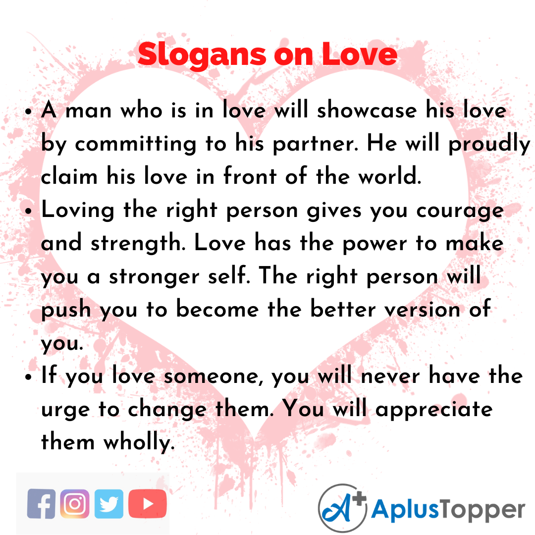 5 Slogans on Love in English