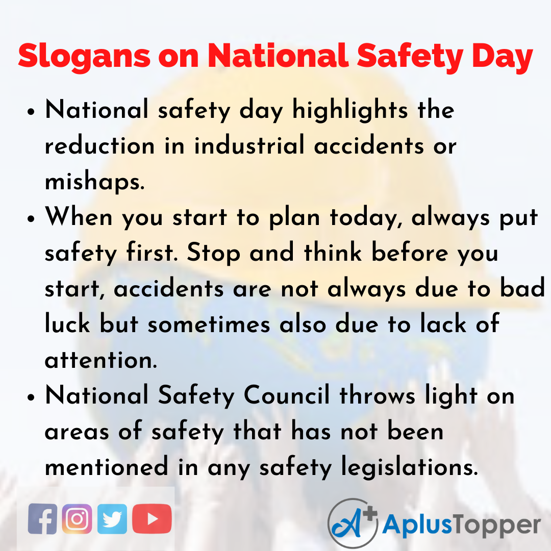 5 Slogans on National Safety Day in English