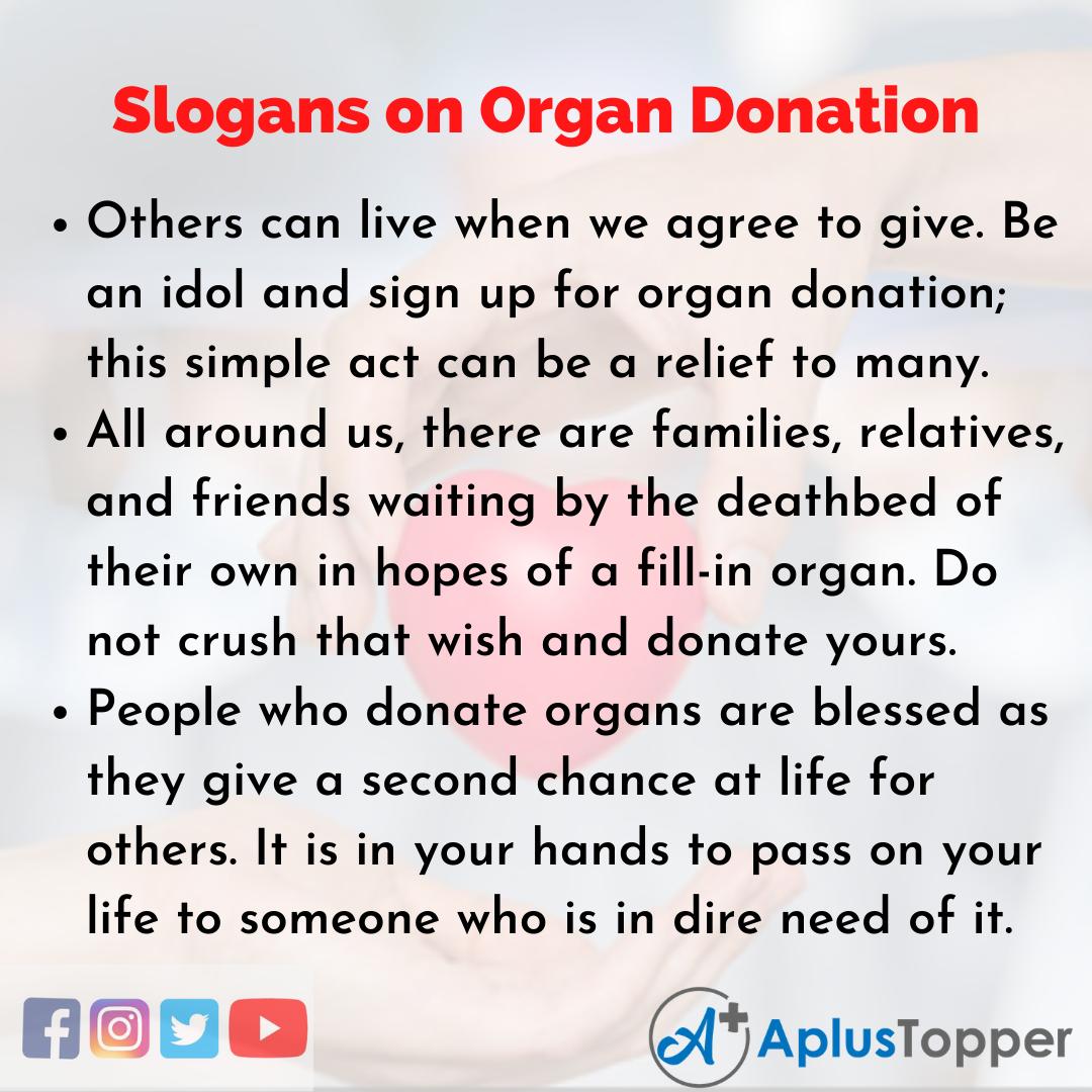 5 Slogans on Organ Donation in English