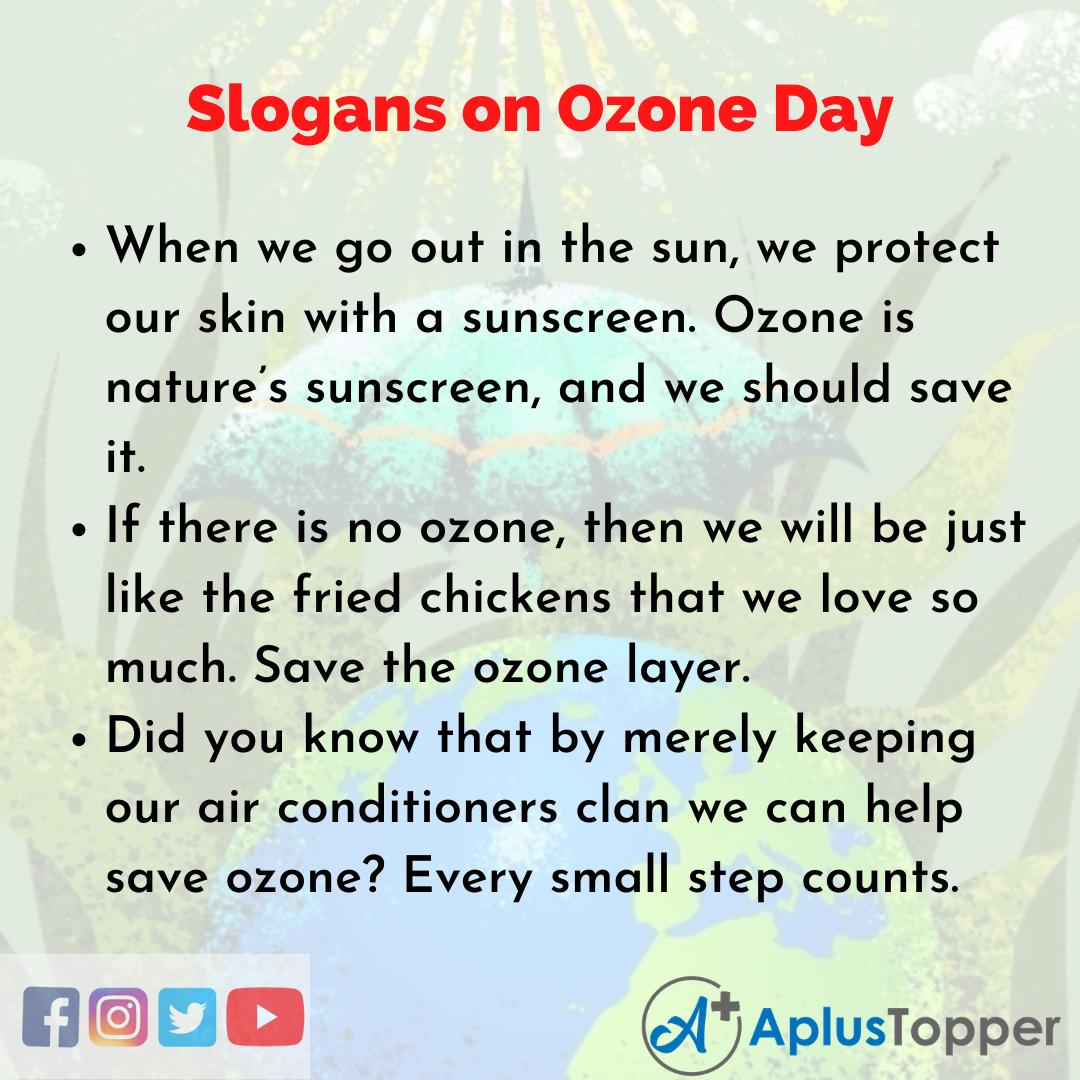 5 Slogans on Ozone Day in English