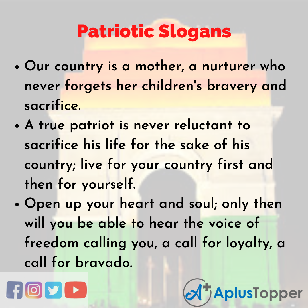 5 Slogans on Patriotic in English