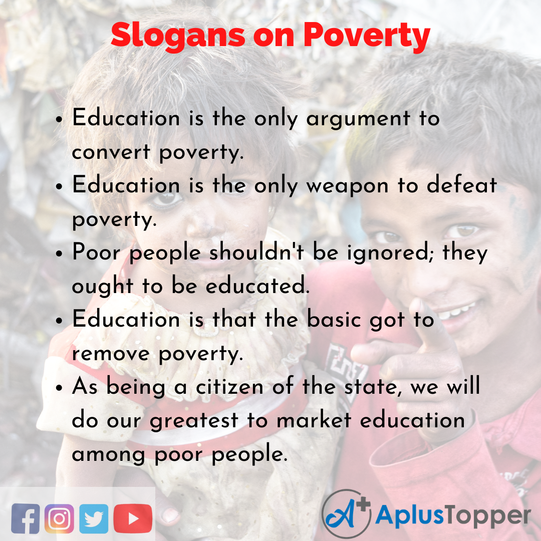5 Slogans on Poverty in English