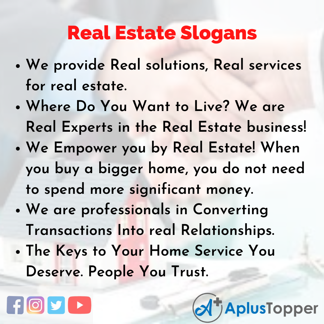 5 Slogans on Real Estate in English