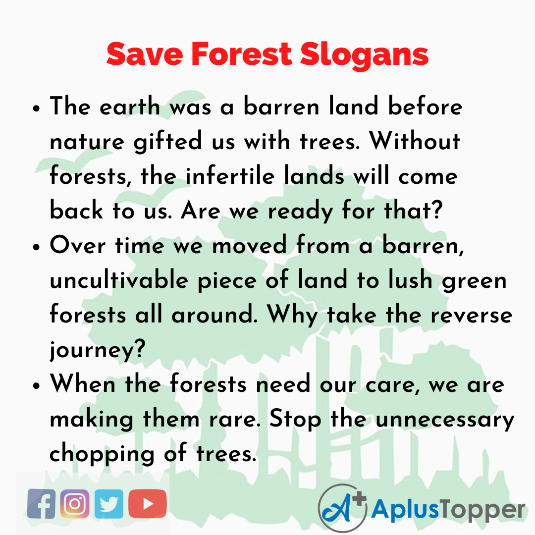 5 Slogans on Save Forest in English