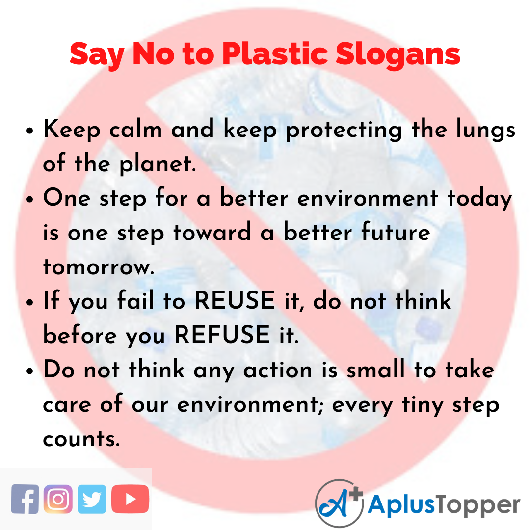 5 Slogans on Say No to Plastic in English