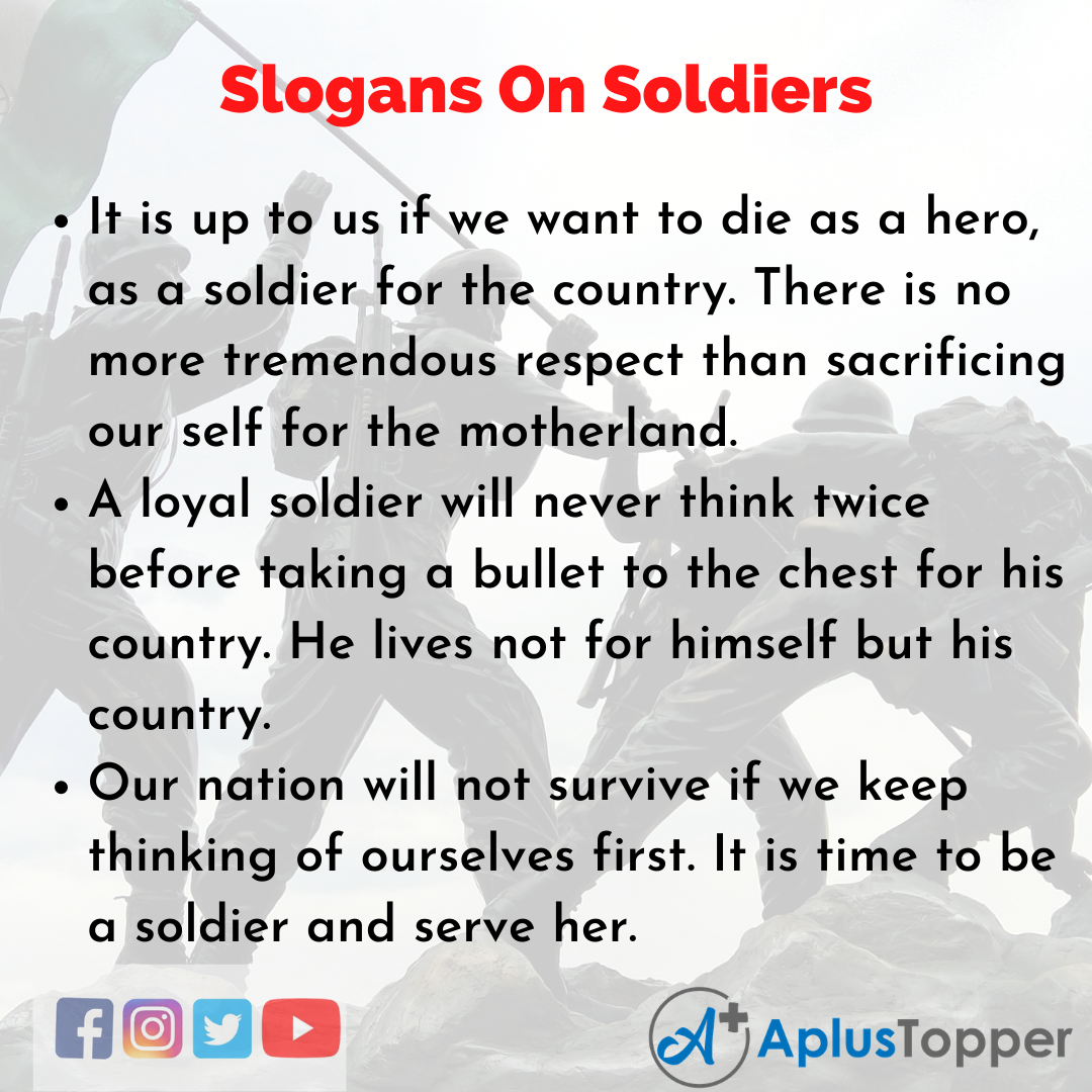 5 Slogans on Soldiers in English