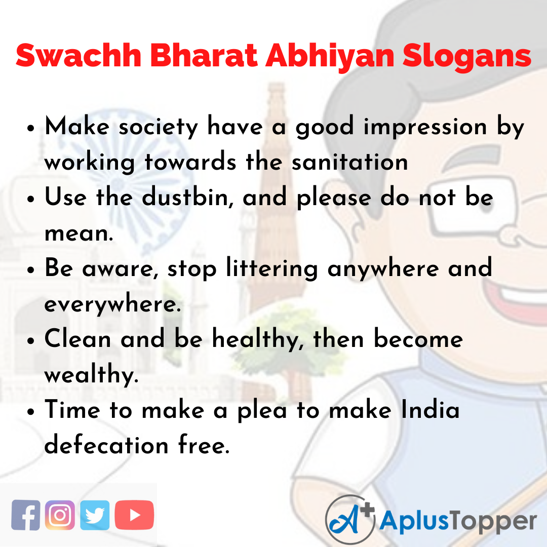 5 Slogans on Swachh Bharat Abhiyan in English