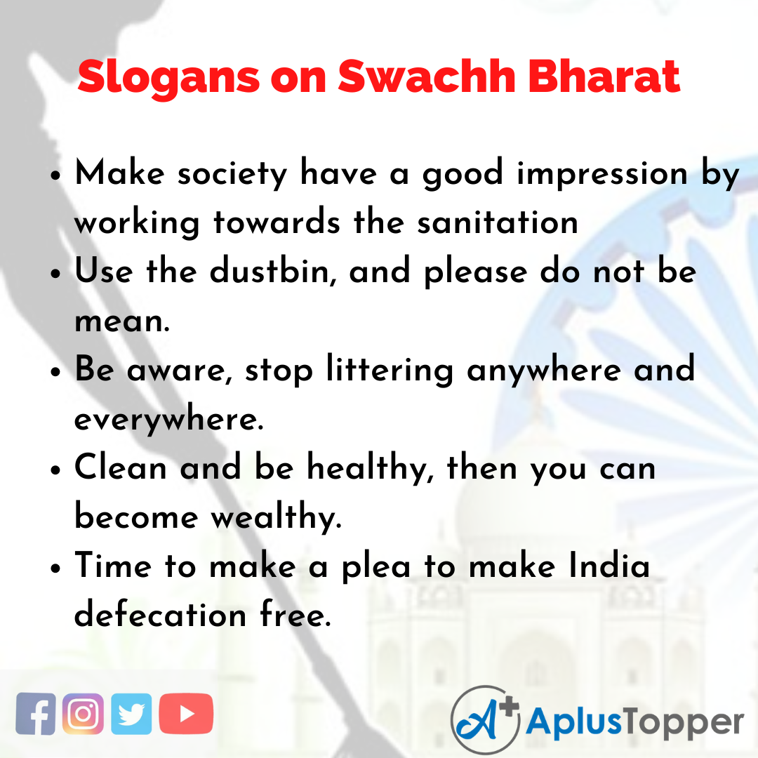 5 Slogans on Swachh Bharat in English